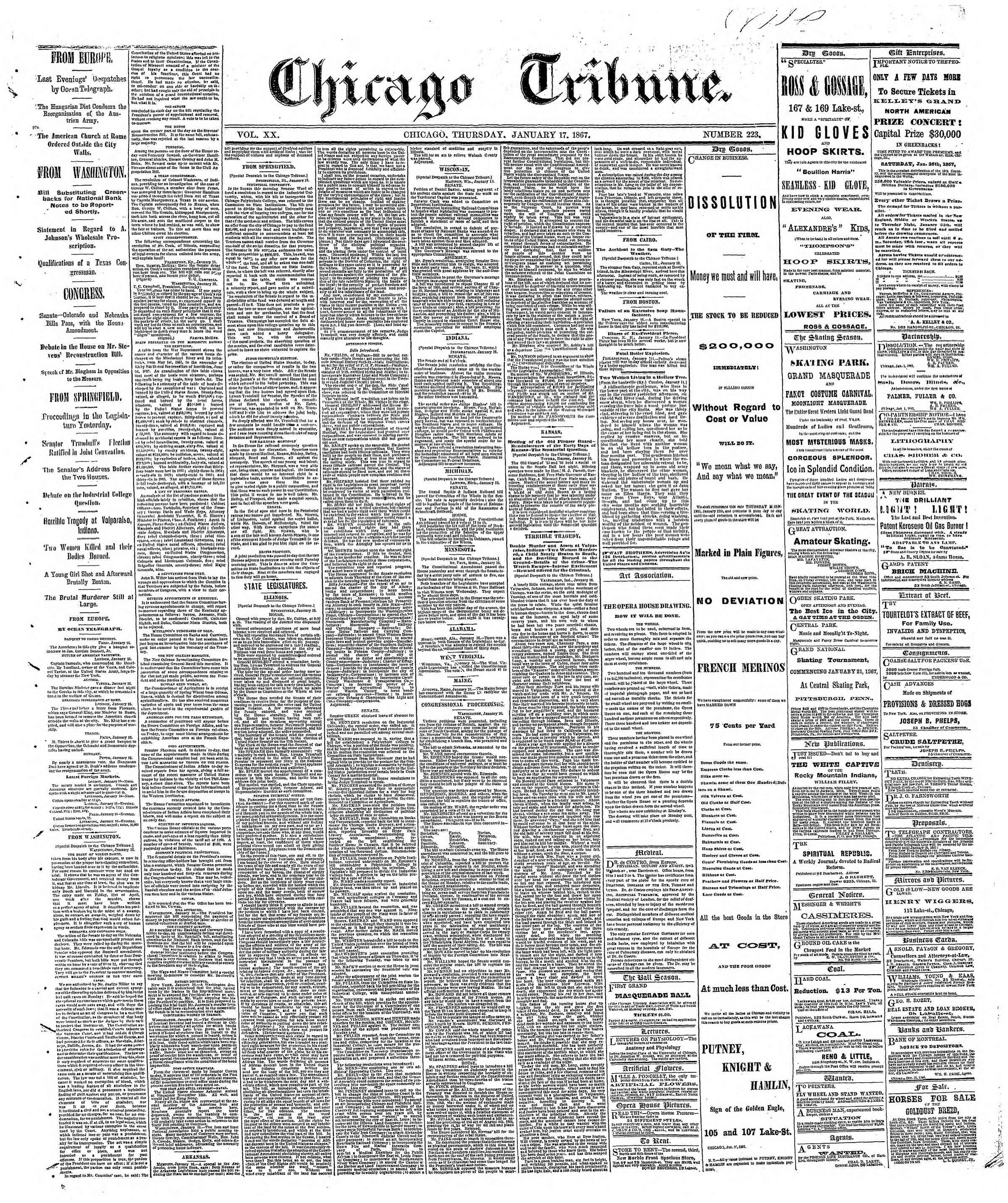 Newspaper of The Chicago Tribune dated 17 Ocak 1867 Page 1