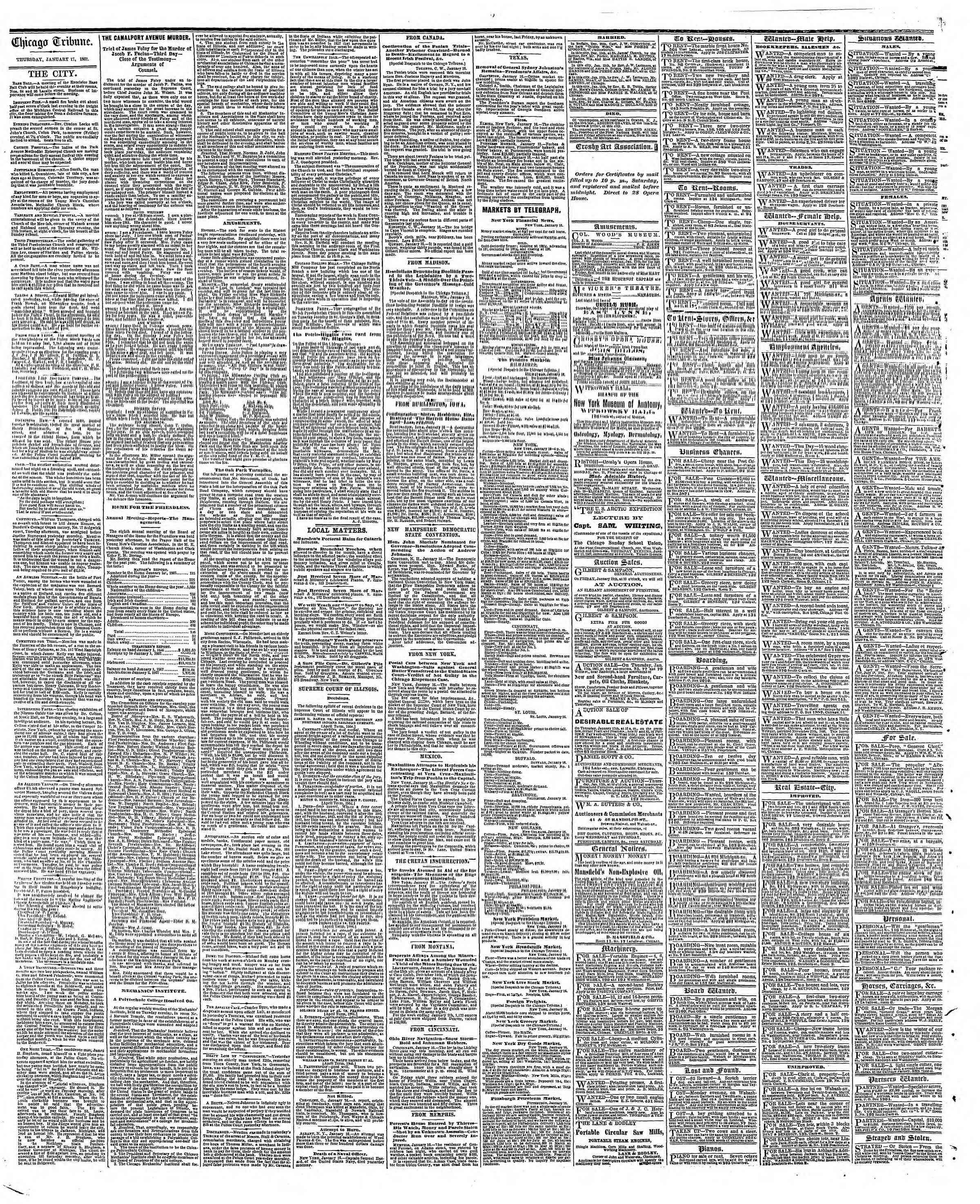 Newspaper of The Chicago Tribune dated January 17, 1867 Page 4