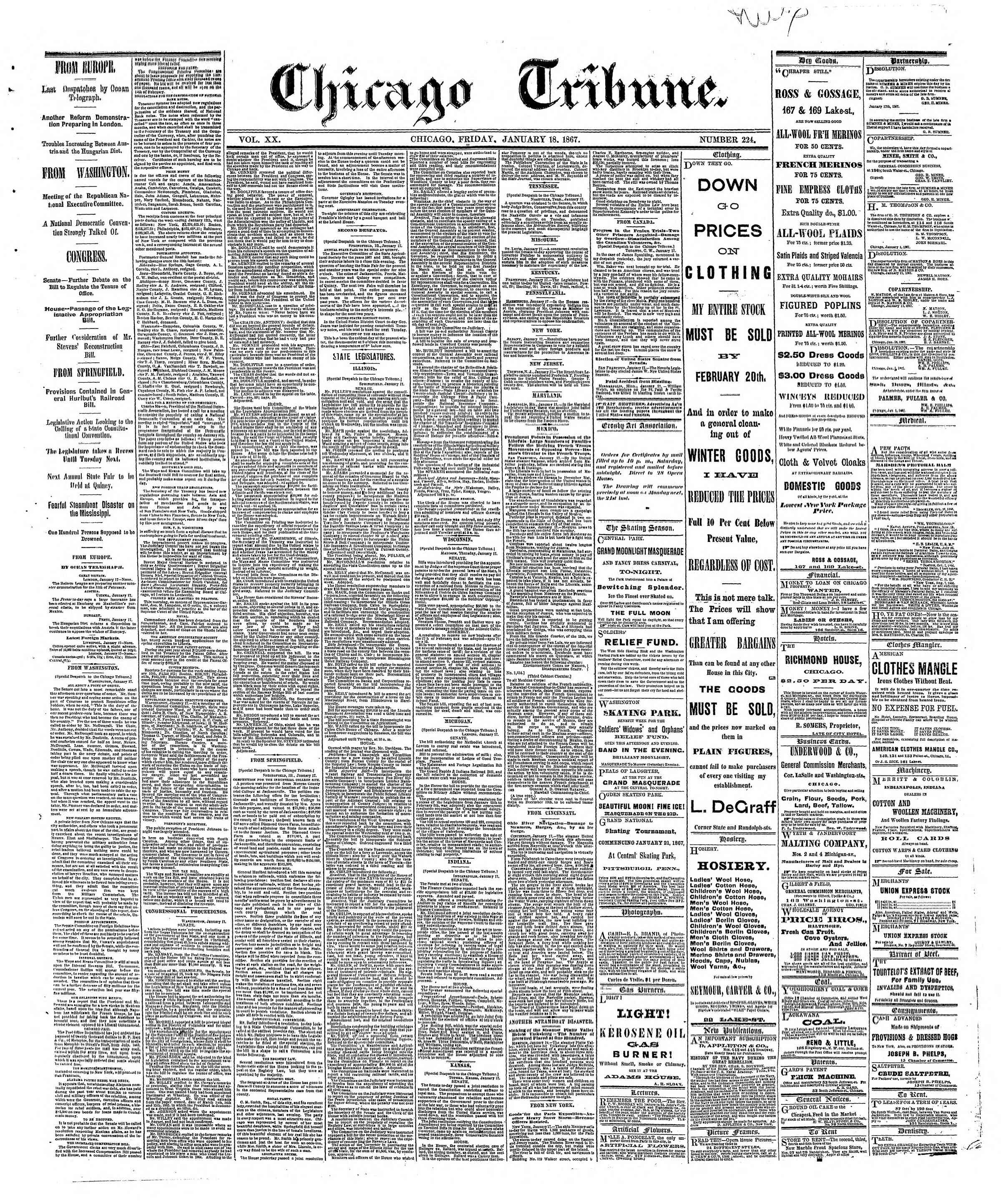 Newspaper of The Chicago Tribune dated January 18, 1867 Page 1