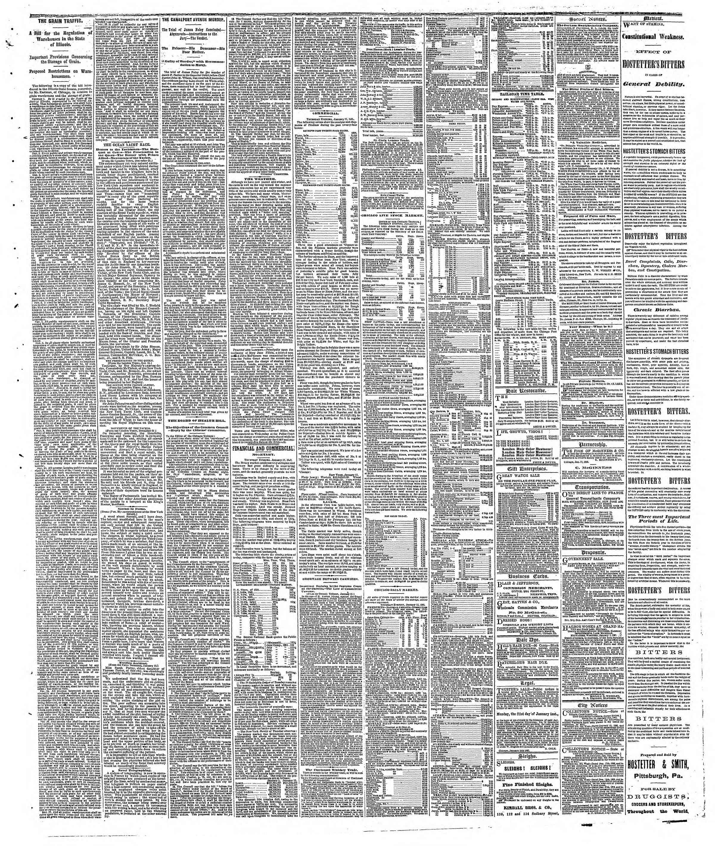 Newspaper of The Chicago Tribune dated January 18, 1867 Page 3