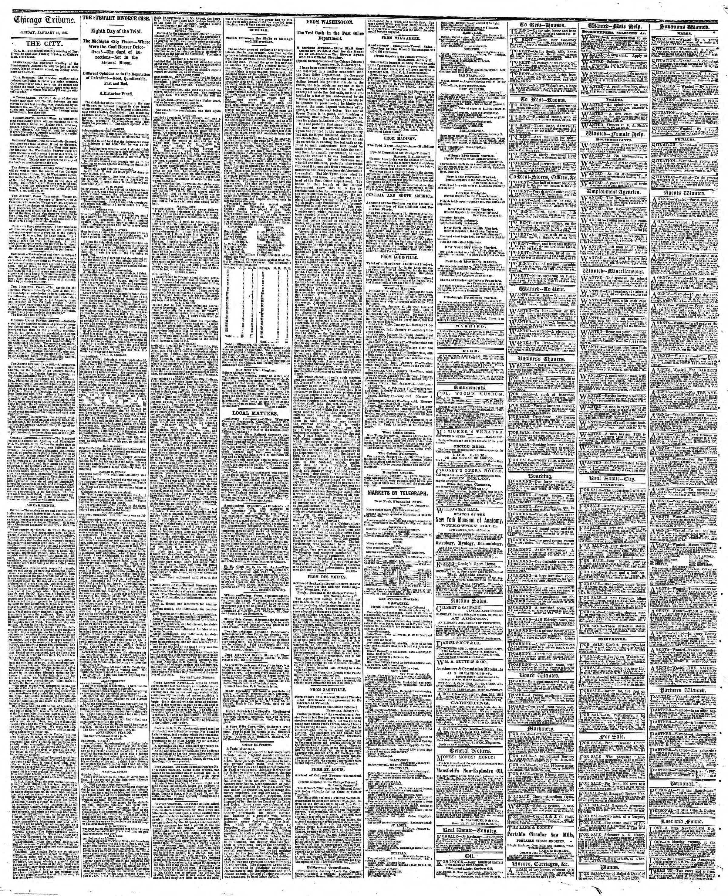 Newspaper of The Chicago Tribune dated January 18, 1867 Page 4