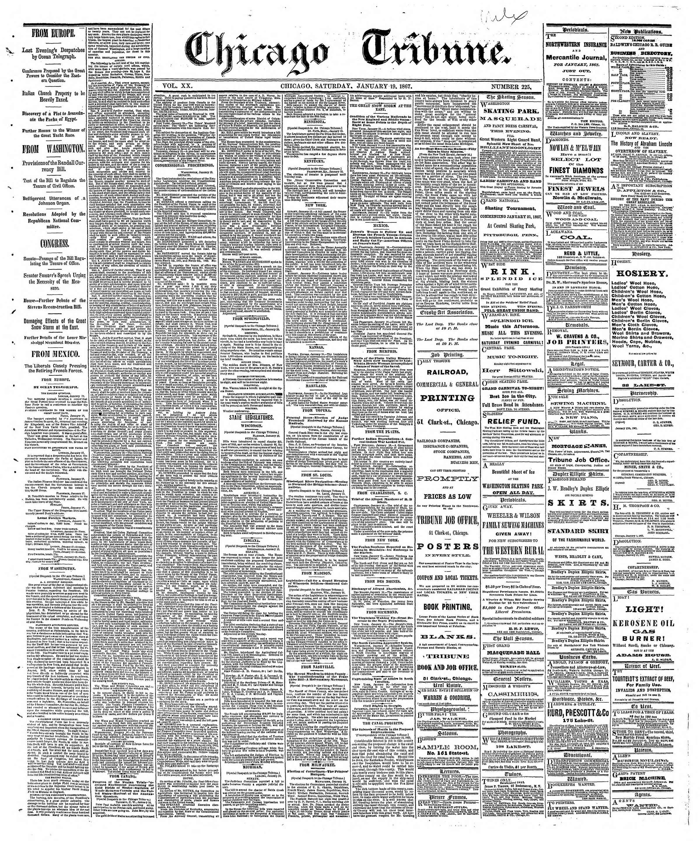 Newspaper of The Chicago Tribune dated January 19, 1867 Page 1