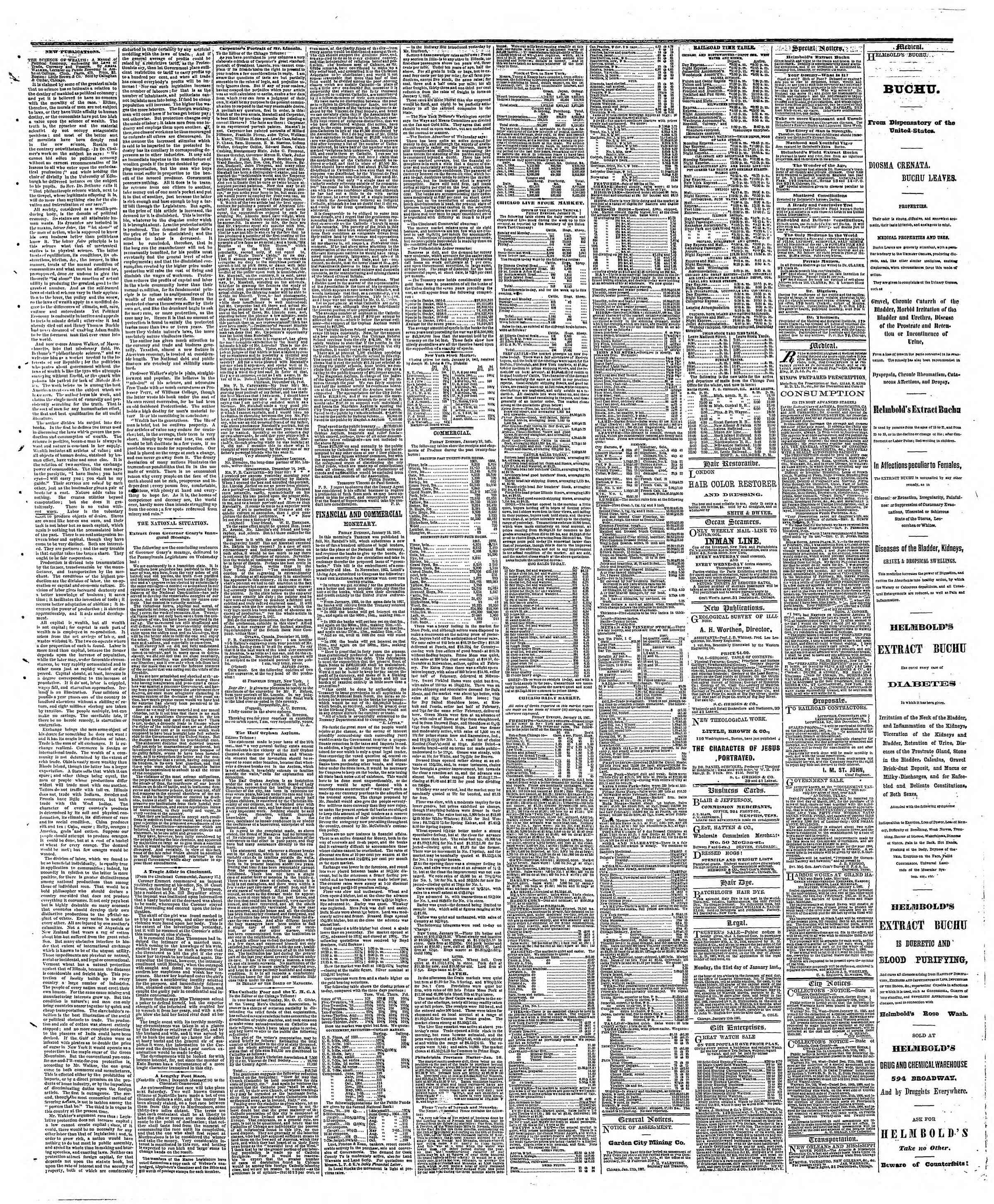 Newspaper of The Chicago Tribune dated January 19, 1867 Page 3