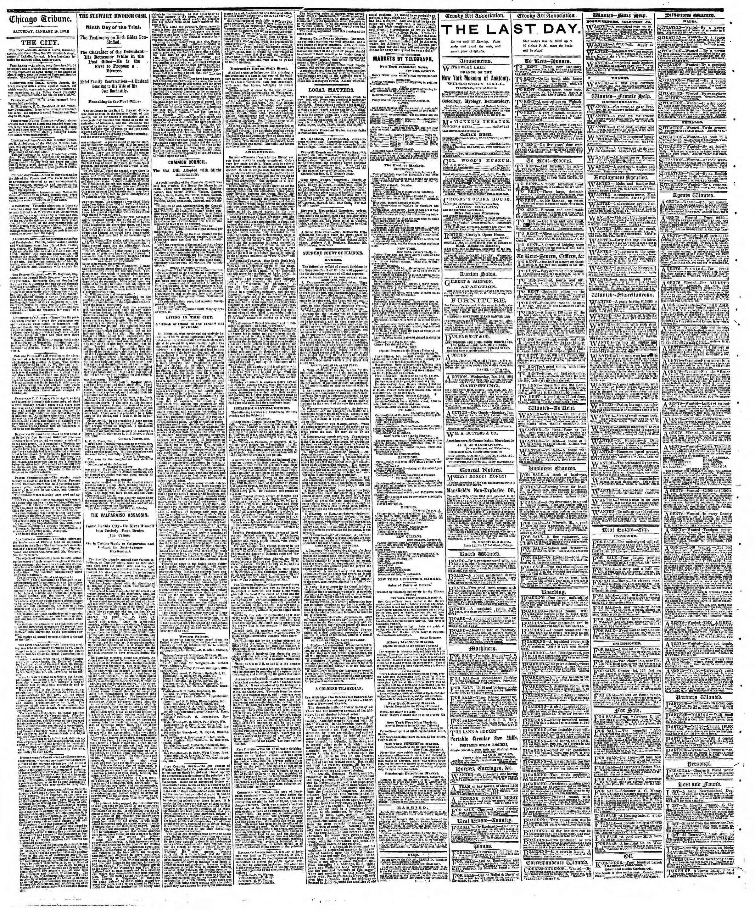 Newspaper of The Chicago Tribune dated January 19, 1867 Page 4