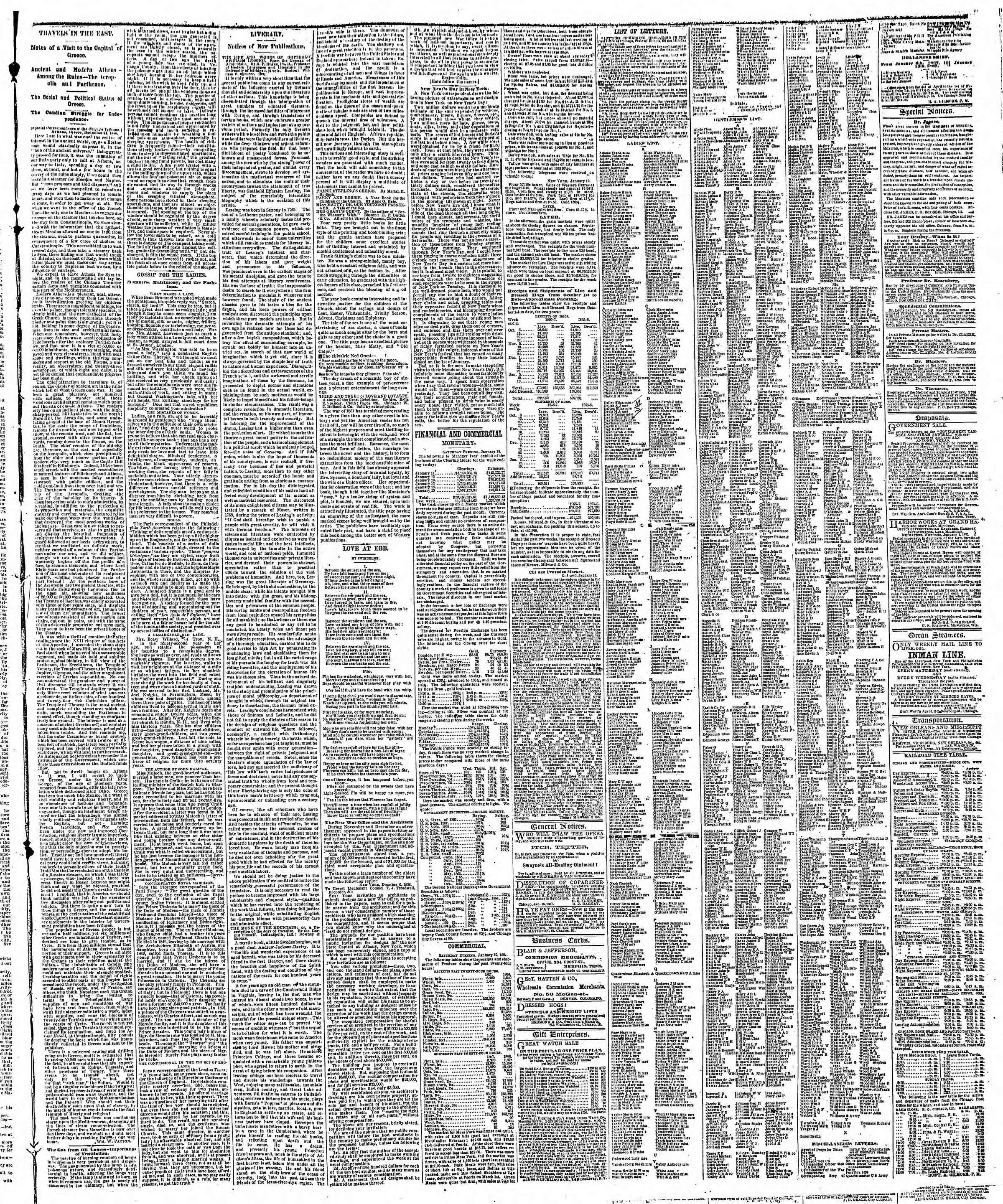 Newspaper of The Chicago Tribune dated January 20, 1867 Page 3