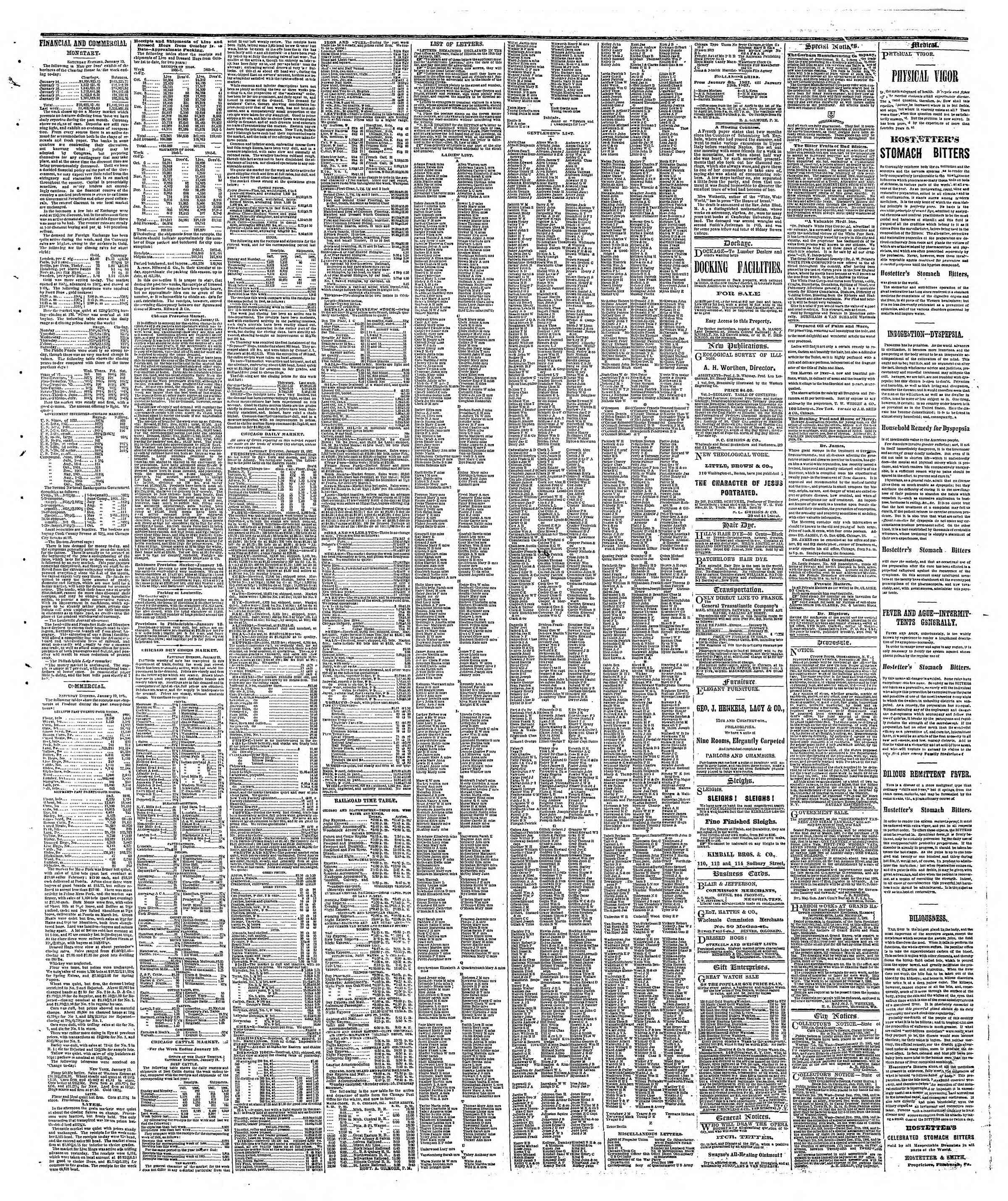 Newspaper of The Chicago Tribune dated January 21, 1867 Page 3