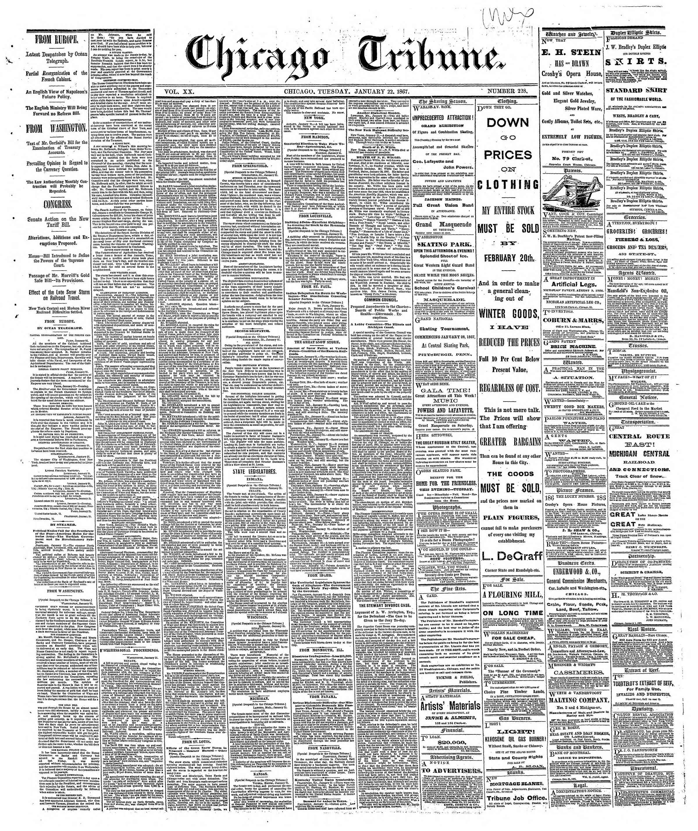 Newspaper of The Chicago Tribune dated January 22, 1867 Page 1