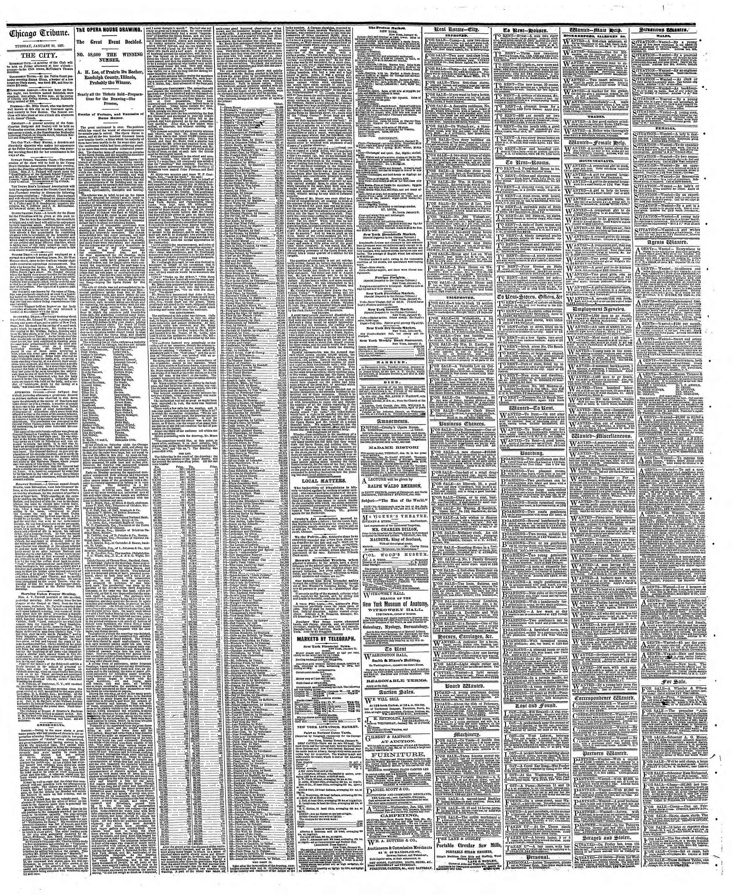 Newspaper of The Chicago Tribune dated January 22, 1867 Page 4