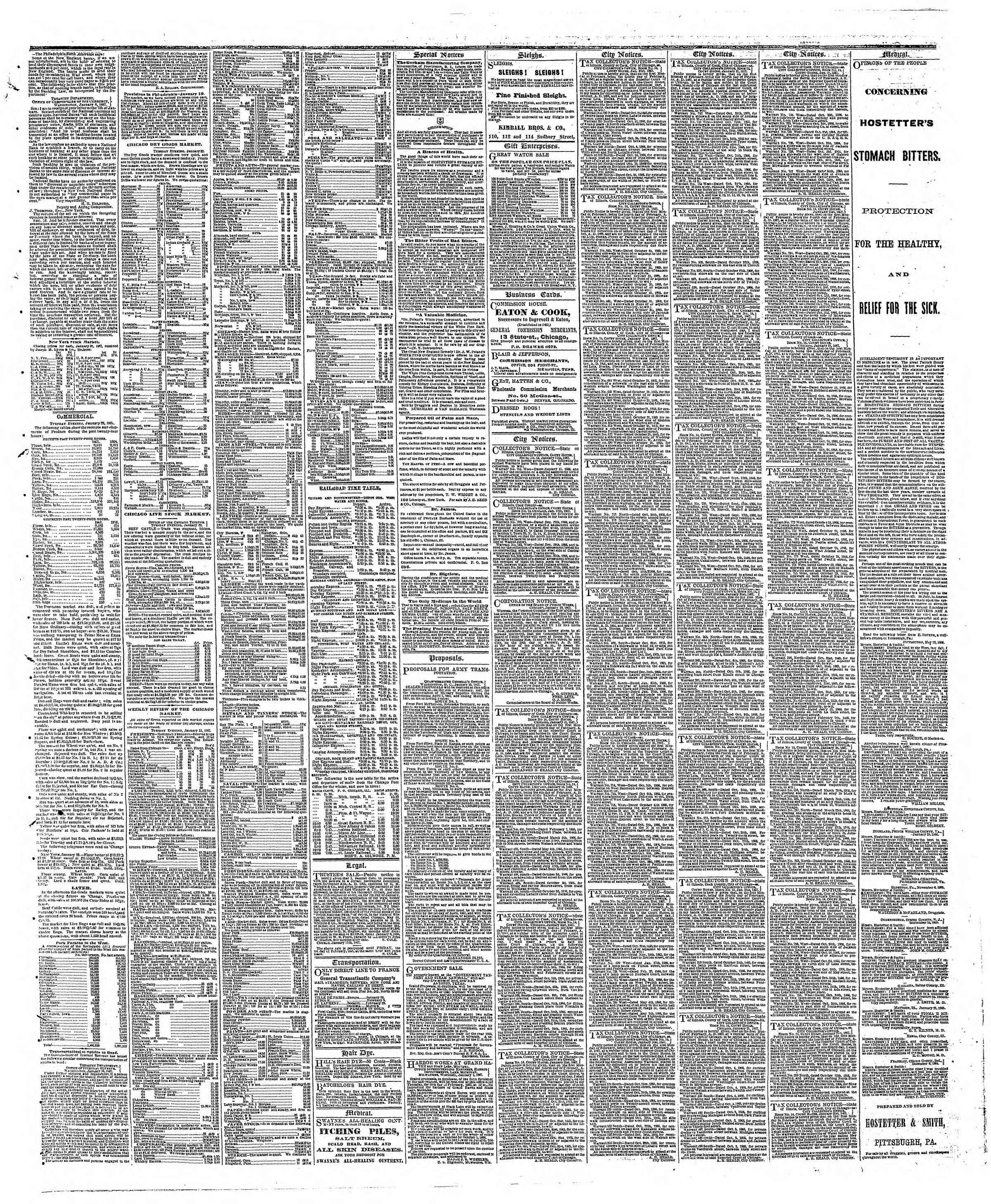 Newspaper of The Chicago Tribune dated January 23, 1867 Page 3