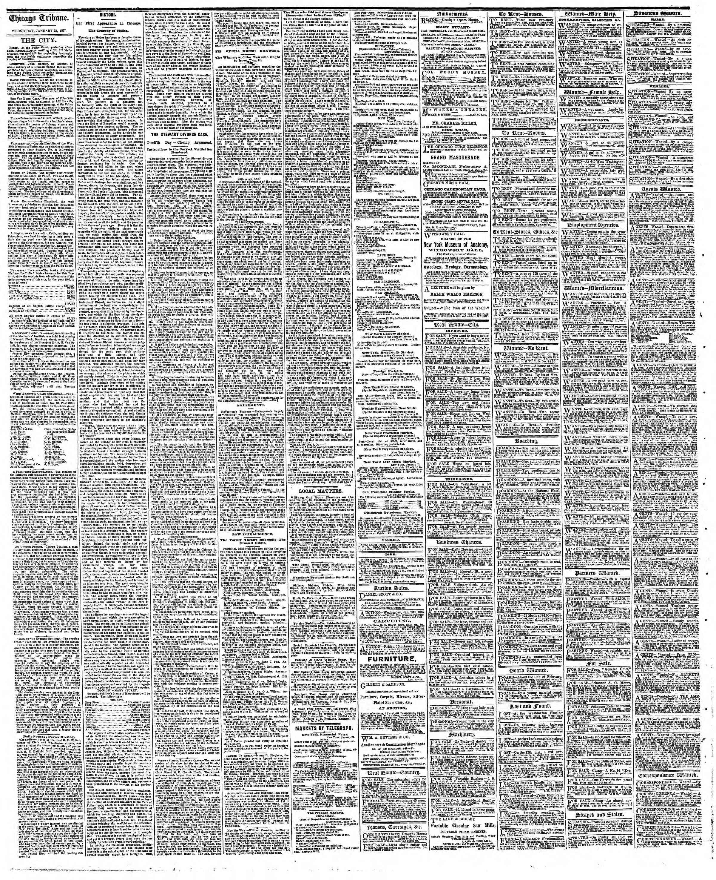 Newspaper of The Chicago Tribune dated January 23, 1867 Page 4