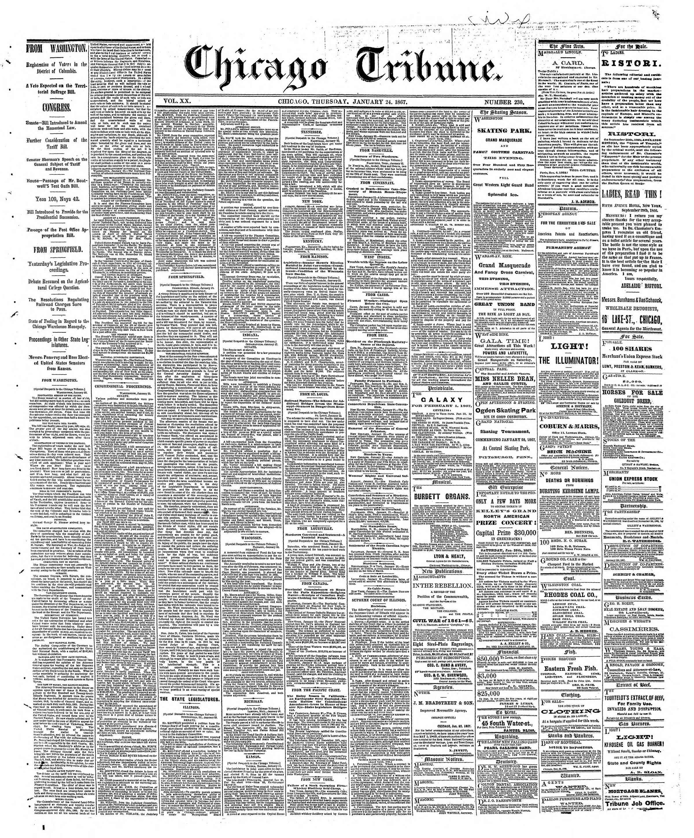 Newspaper of The Chicago Tribune dated January 24, 1867 Page 1