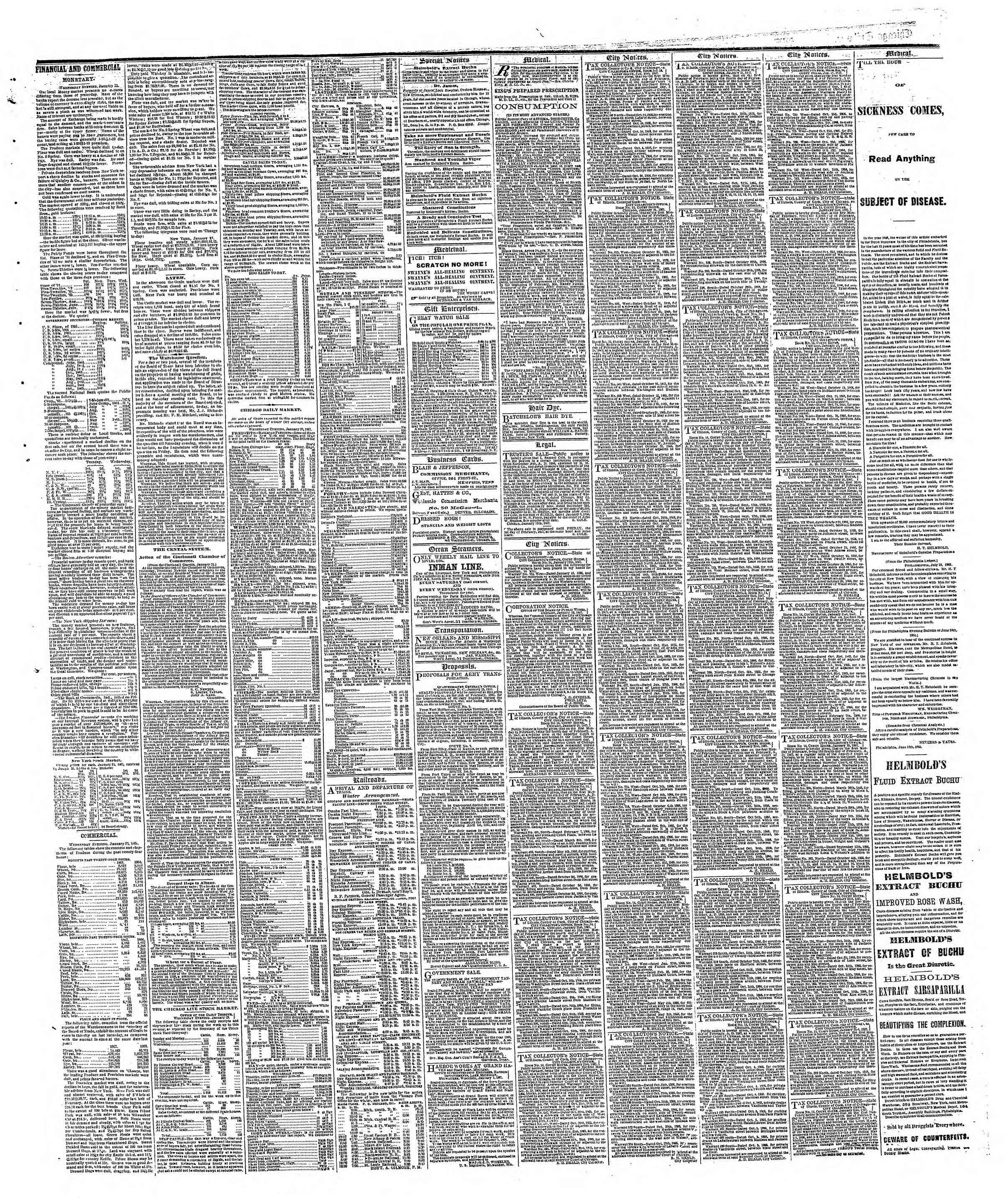 Newspaper of The Chicago Tribune dated January 24, 1867 Page 3