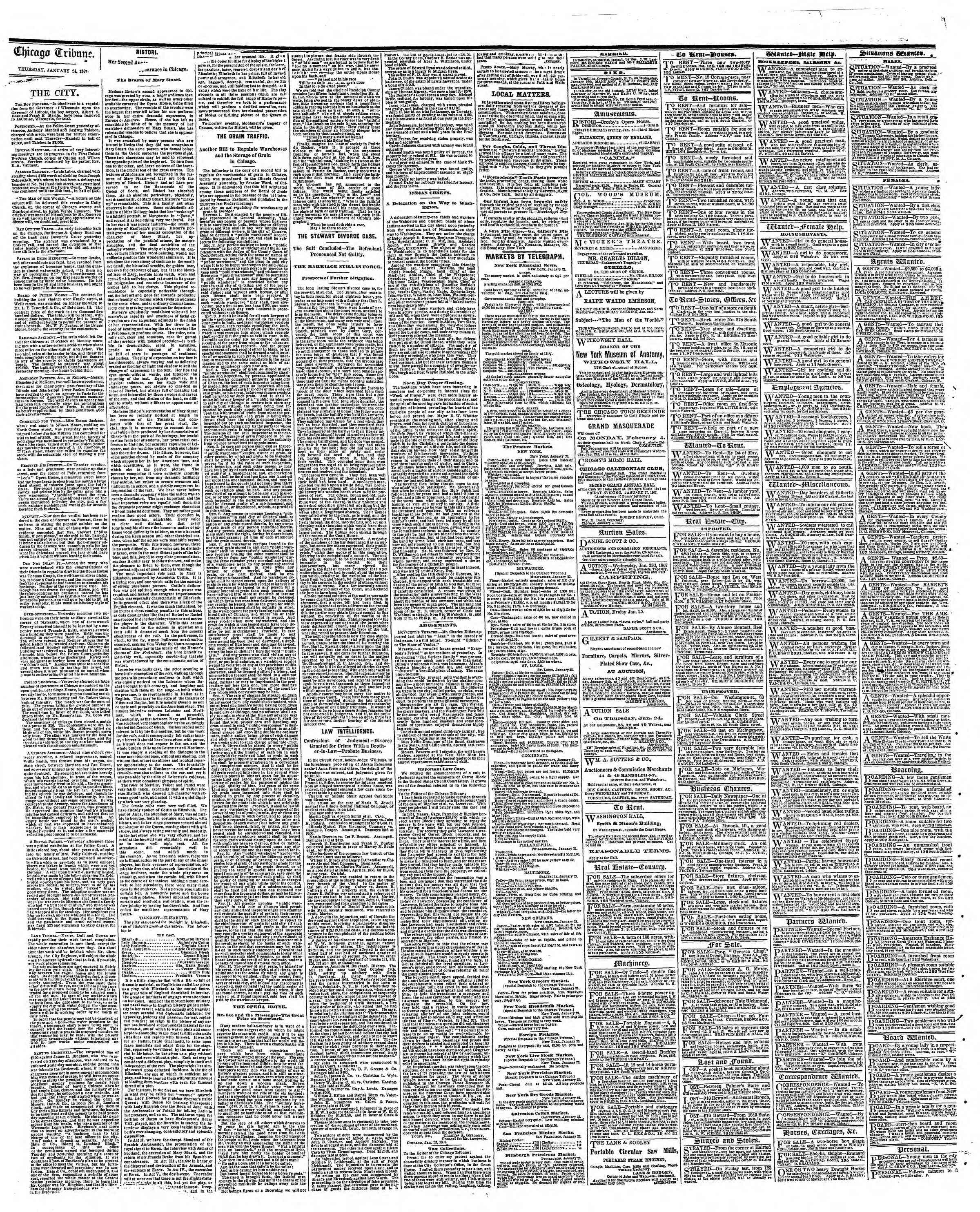 Newspaper of The Chicago Tribune dated January 24, 1867 Page 4