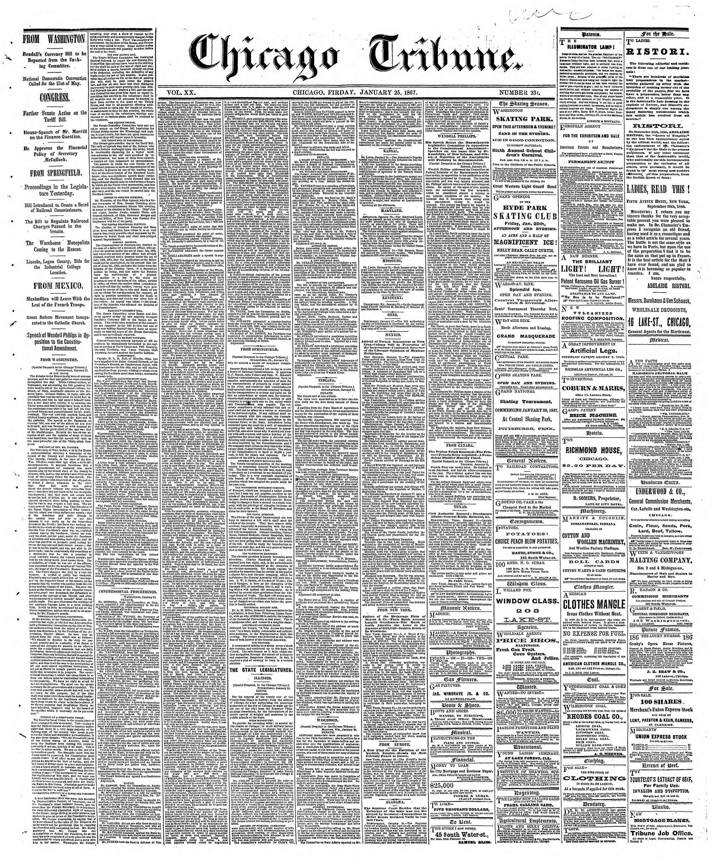 Newspaper of The Chicago Tribune dated January 25, 1867 Page 1