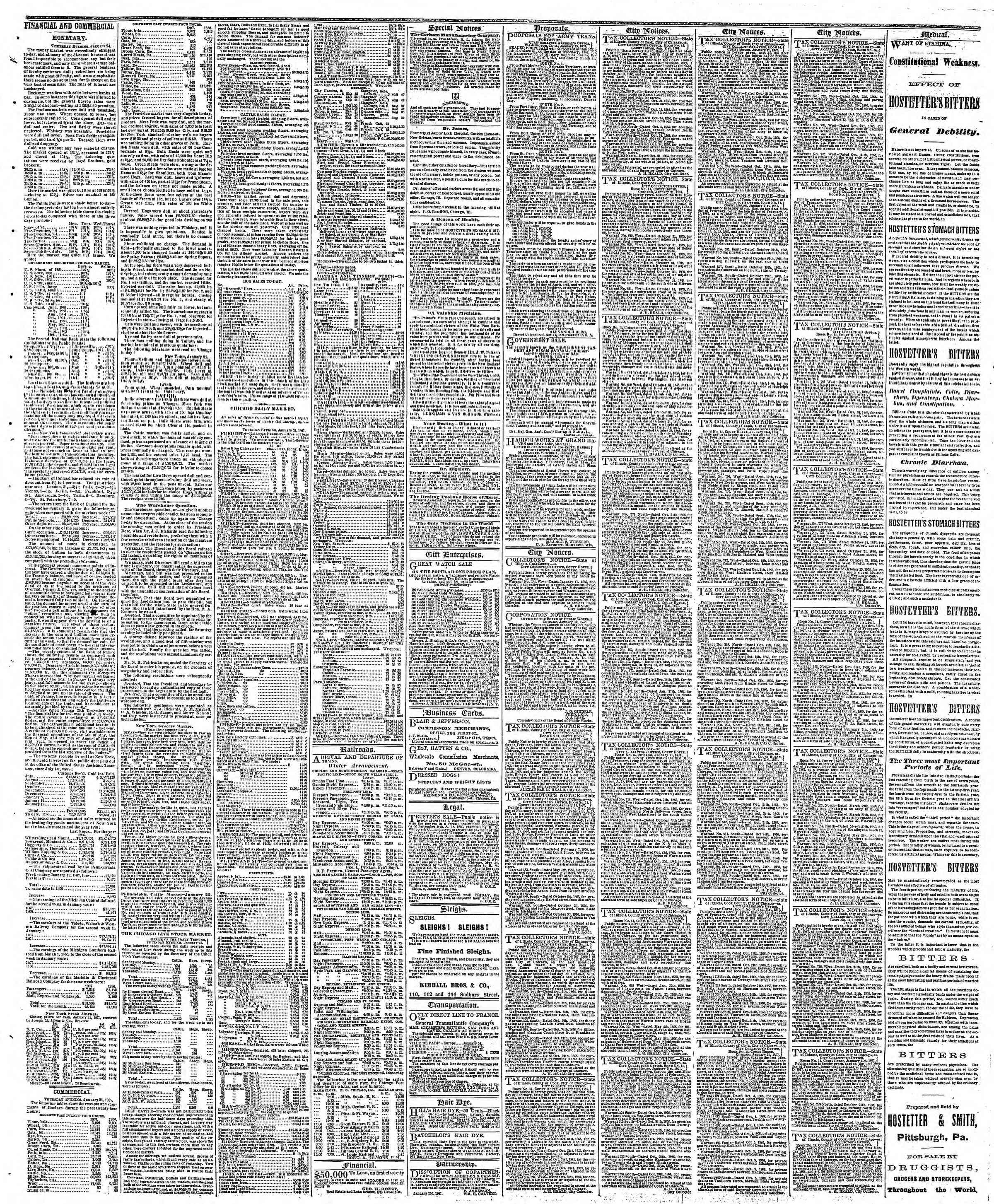 Newspaper of The Chicago Tribune dated January 25, 1867 Page 3
