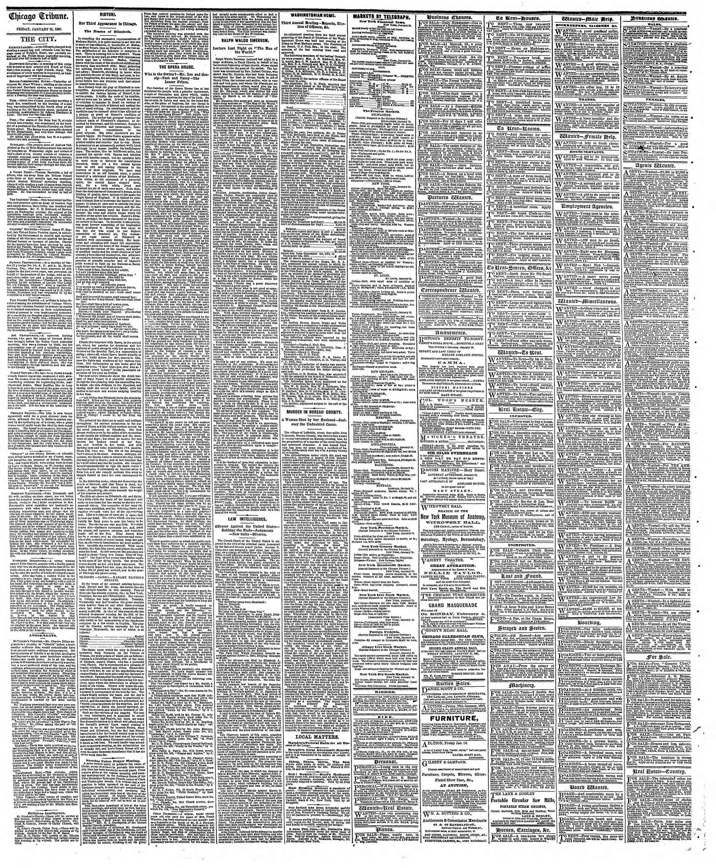 Newspaper of The Chicago Tribune dated January 25, 1867 Page 4