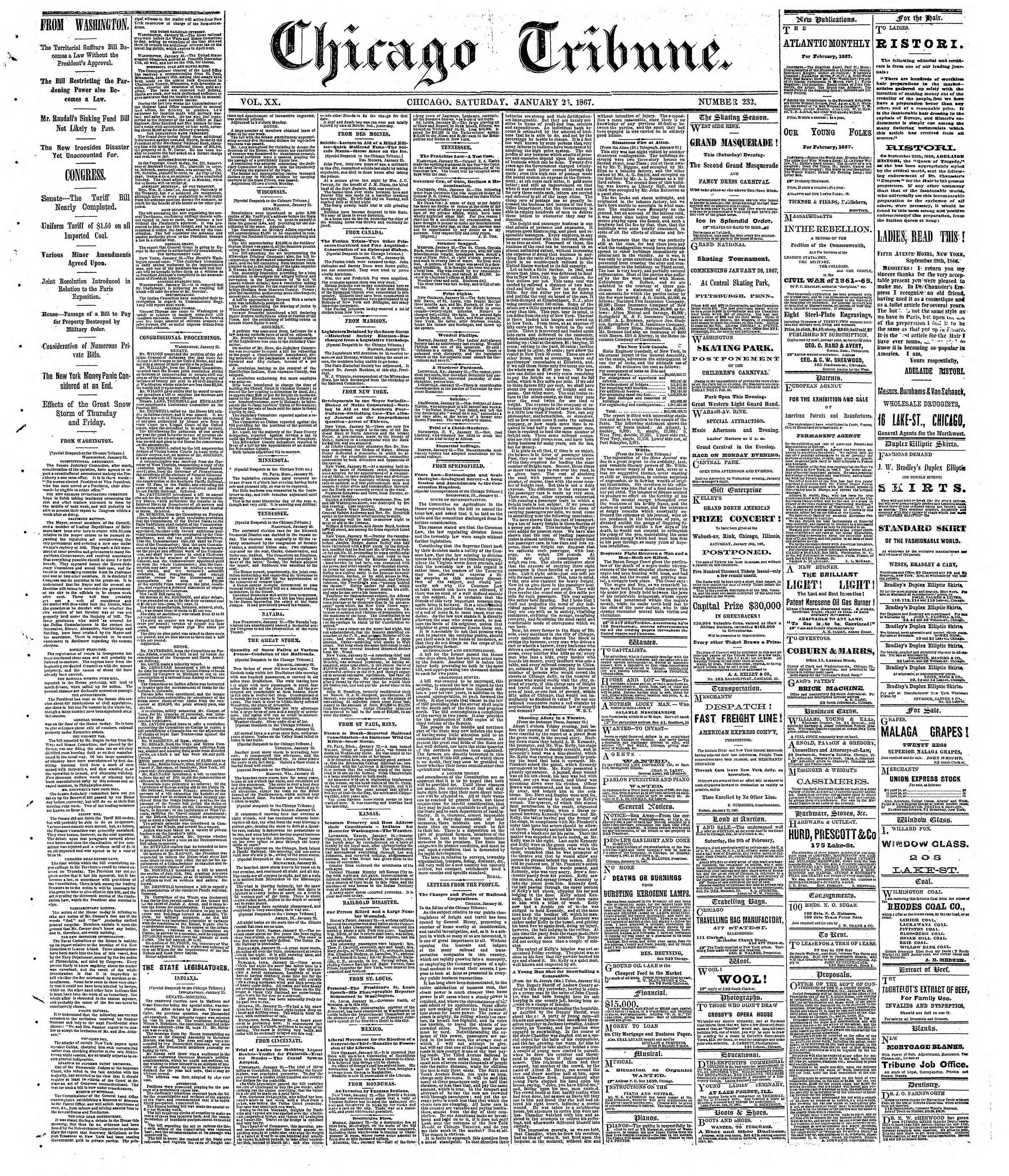 Newspaper of The Chicago Tribune dated January 26, 1867 Page 1