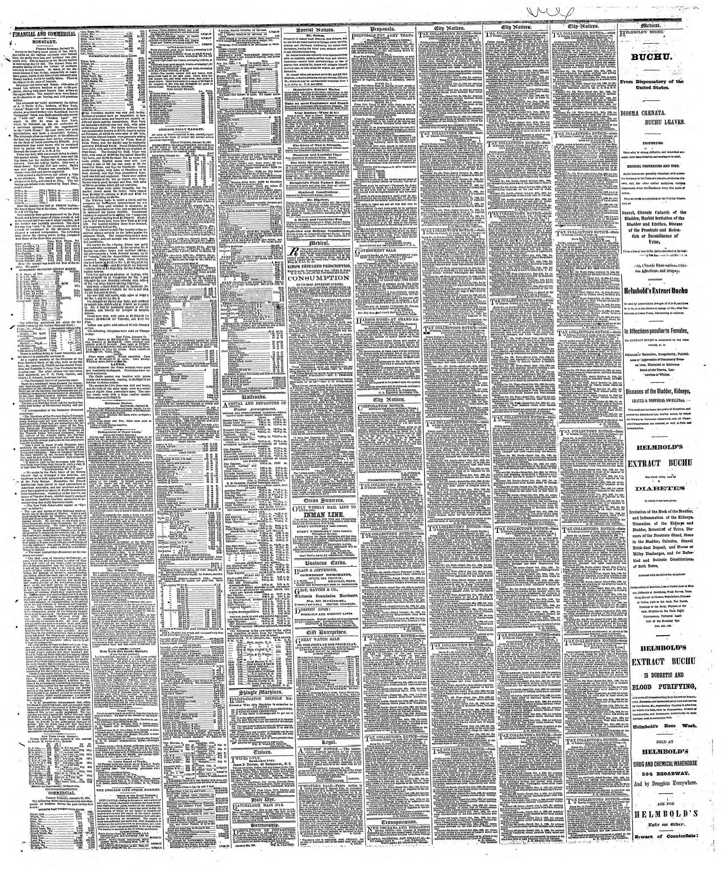 Newspaper of The Chicago Tribune dated January 26, 1867 Page 3