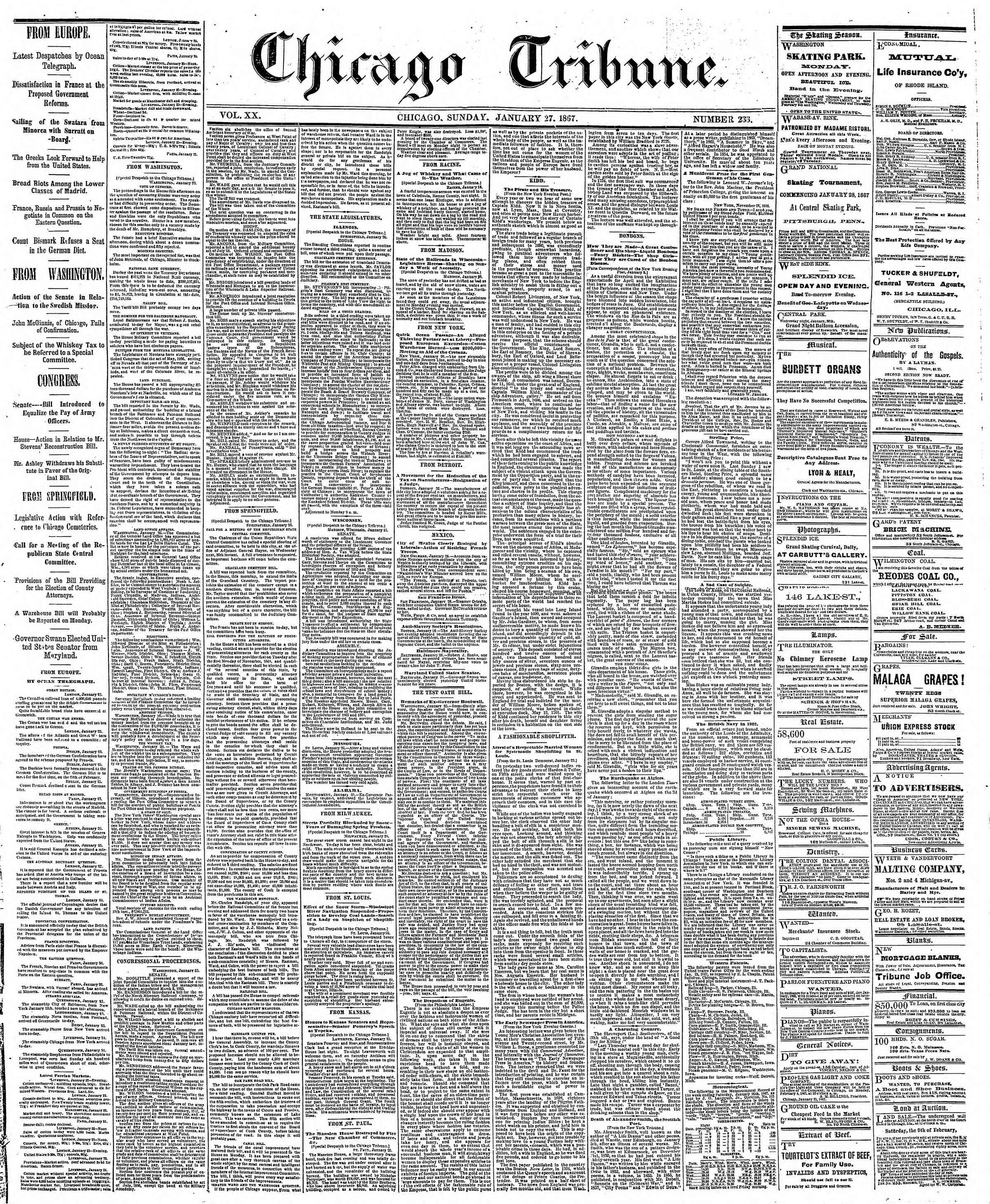 Newspaper of The Chicago Tribune dated January 27, 1867 Page 1