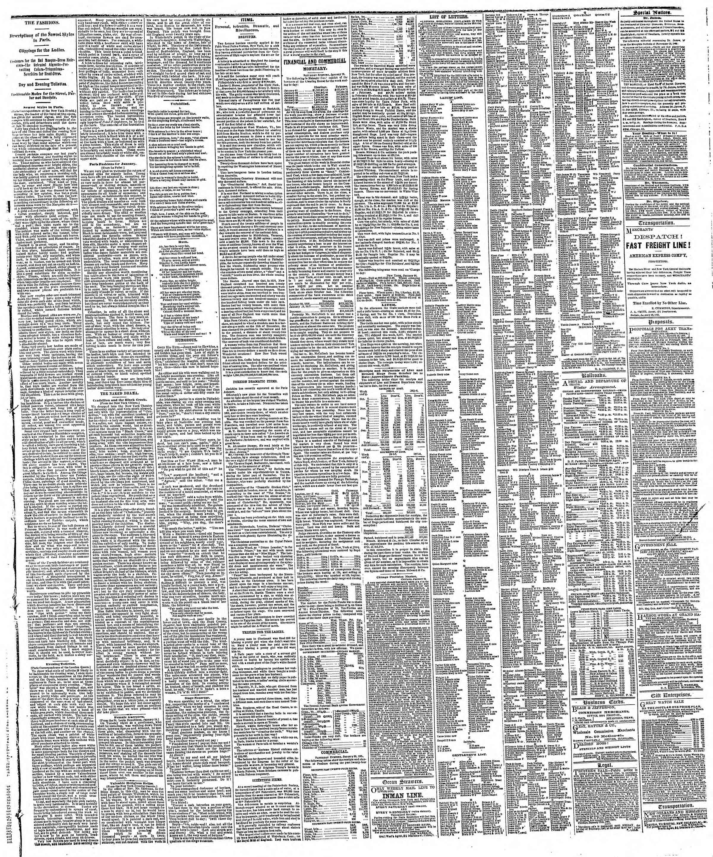 Newspaper of The Chicago Tribune dated January 27, 1867 Page 3