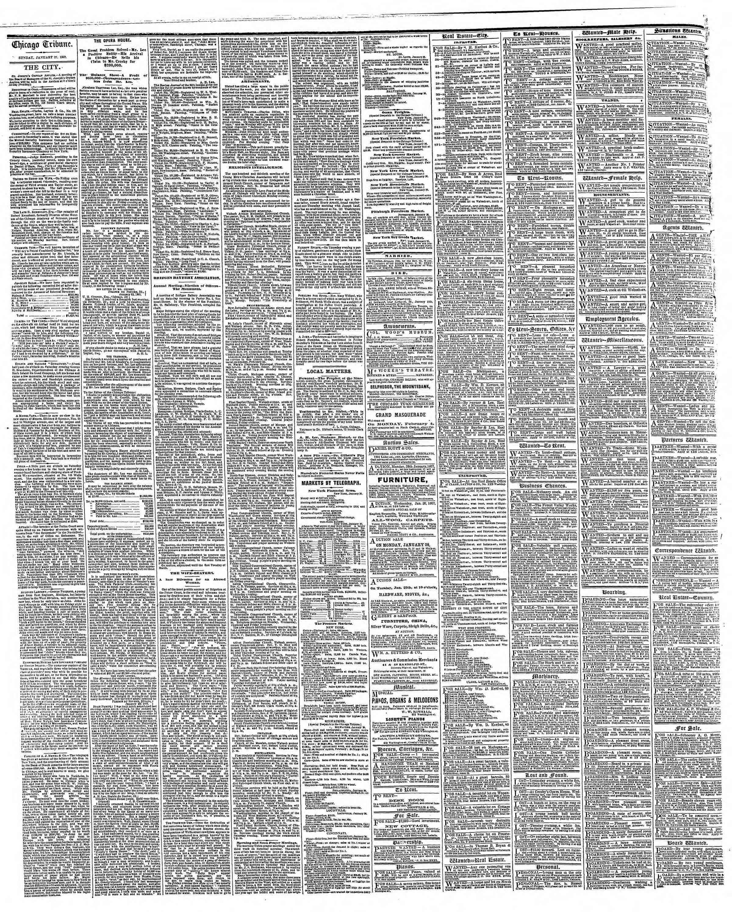 Newspaper of The Chicago Tribune dated January 27, 1867 Page 4