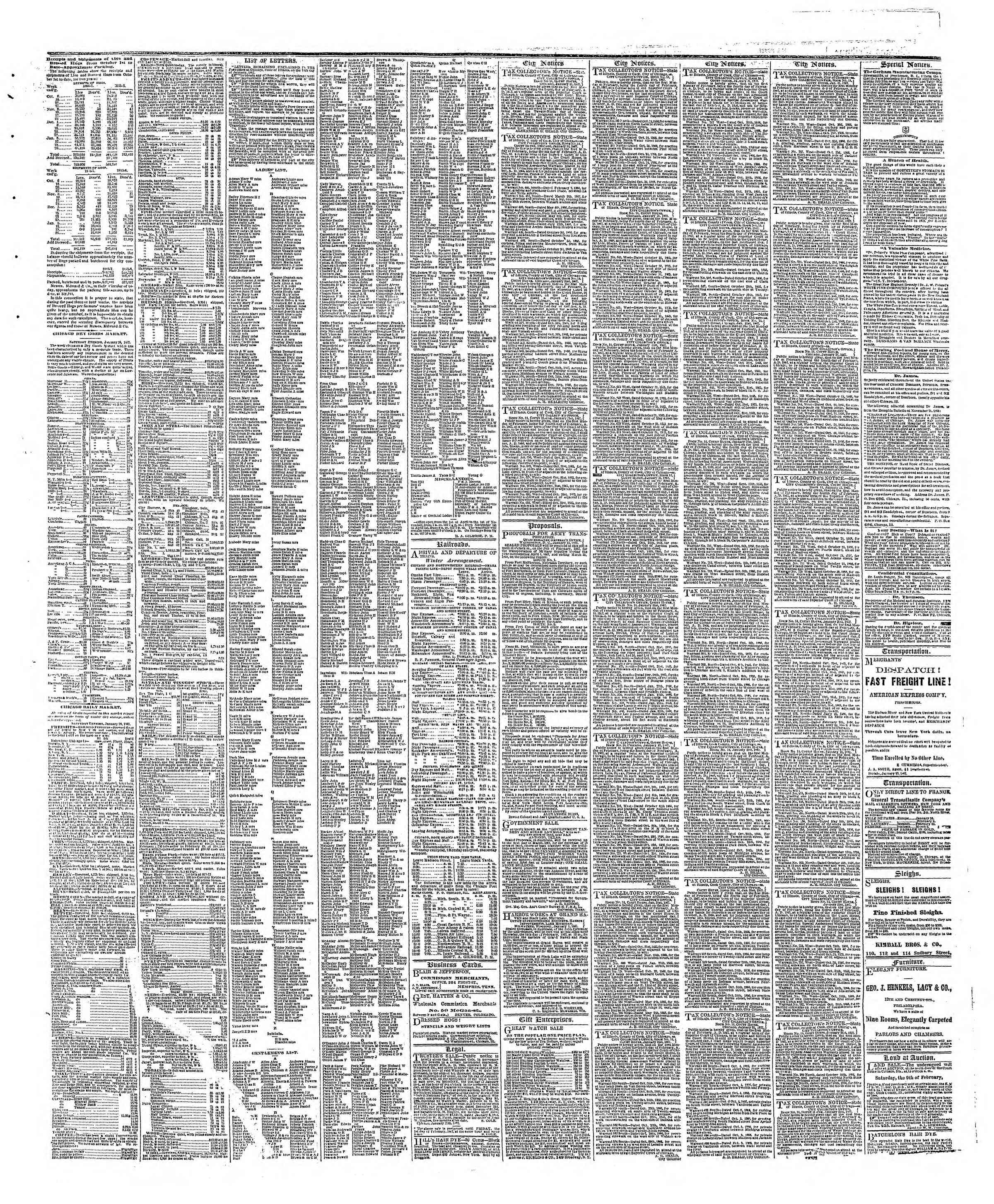 Newspaper of The Chicago Tribune dated January 28, 1867 Page 3