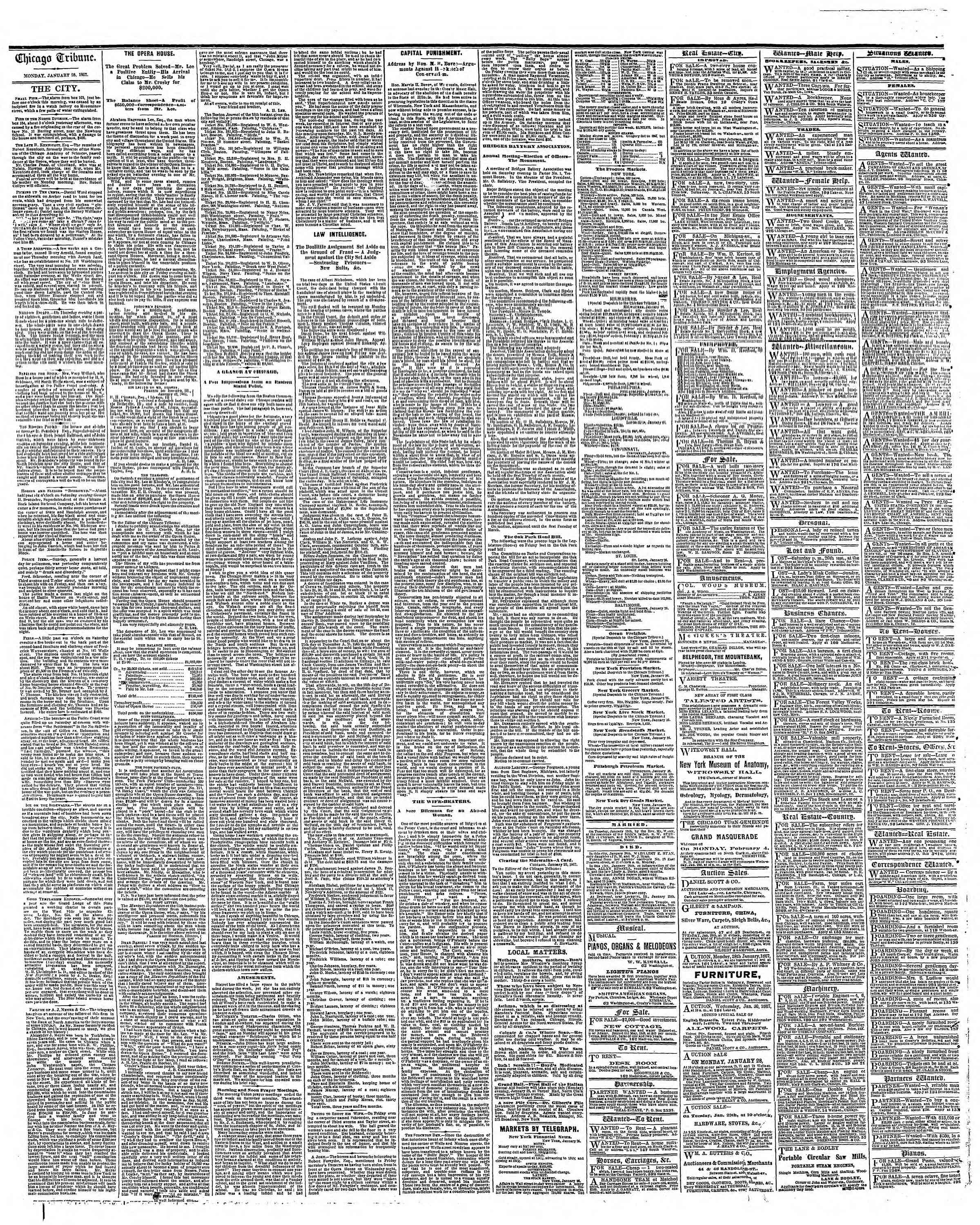 Newspaper of The Chicago Tribune dated January 28, 1867 Page 4