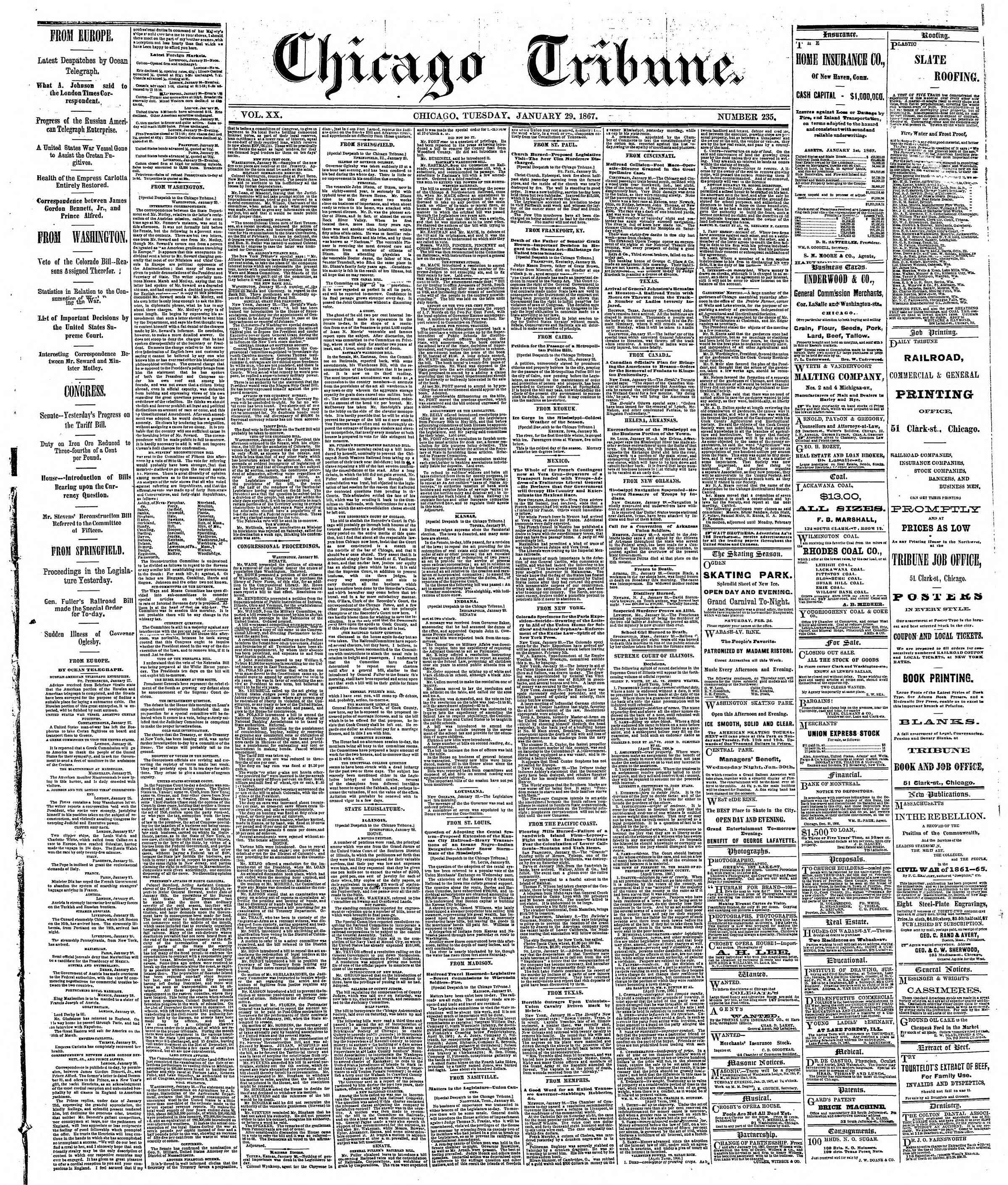 Newspaper of The Chicago Tribune dated January 29, 1867 Page 1