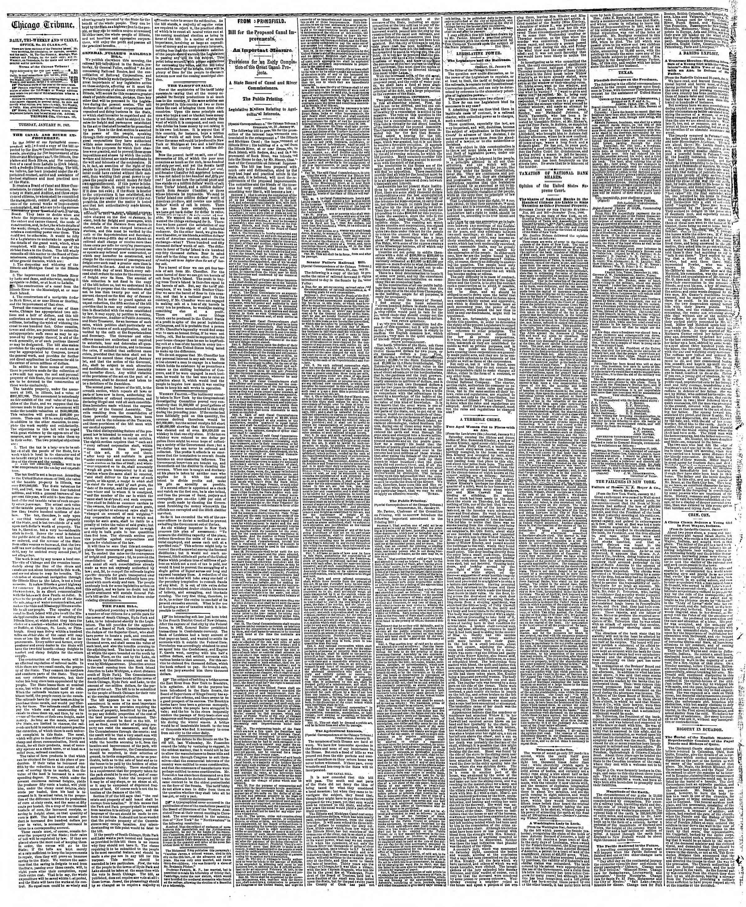 Newspaper of The Chicago Tribune dated January 29, 1867 Page 2