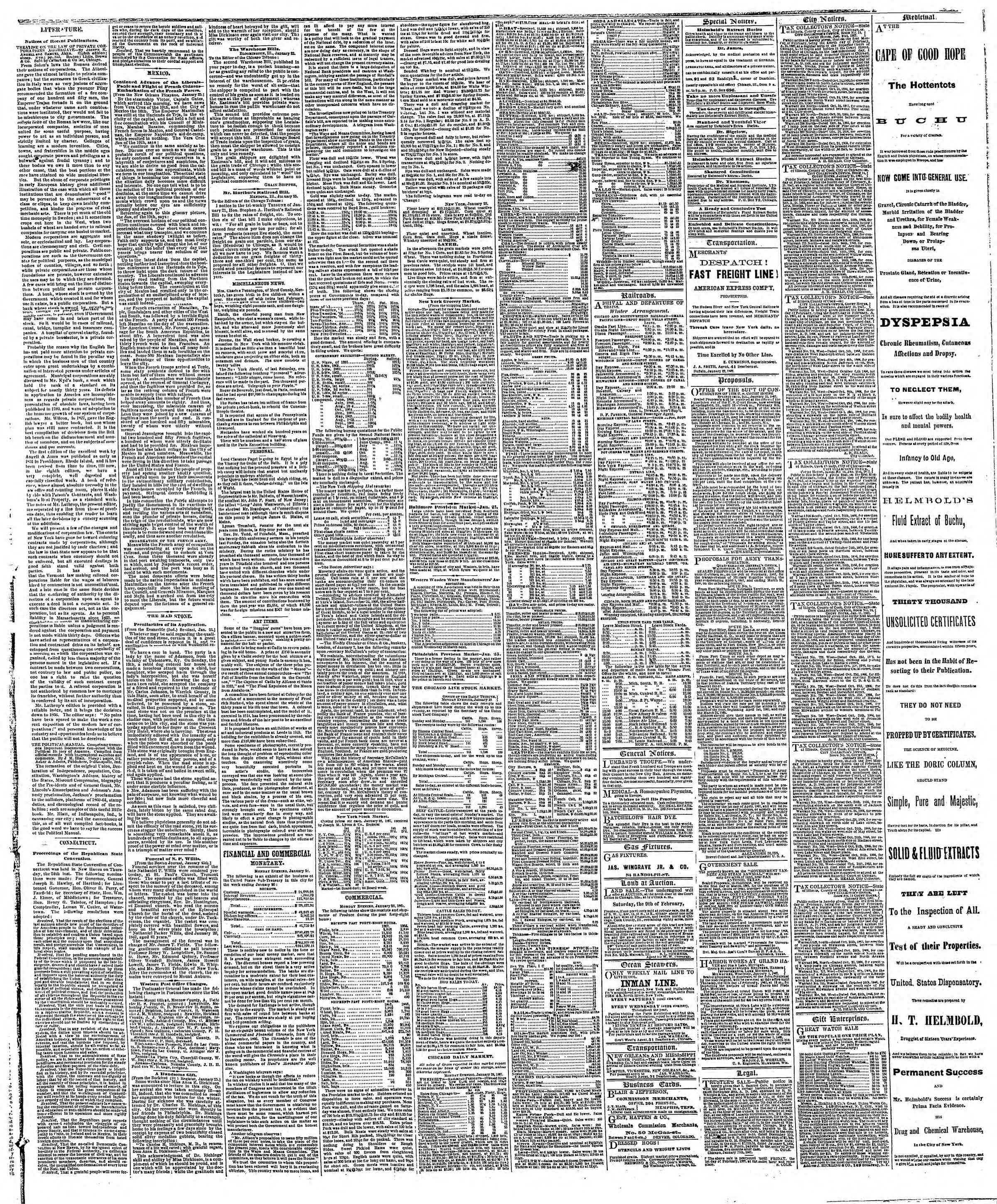 Newspaper of The Chicago Tribune dated January 29, 1867 Page 3