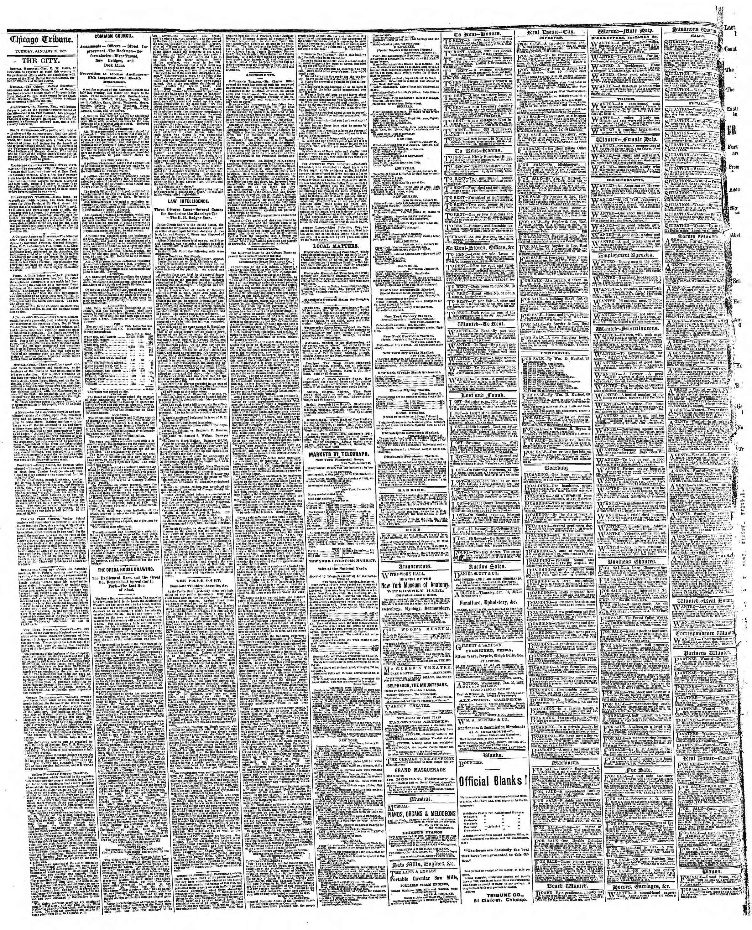 Newspaper of The Chicago Tribune dated January 29, 1867 Page 4