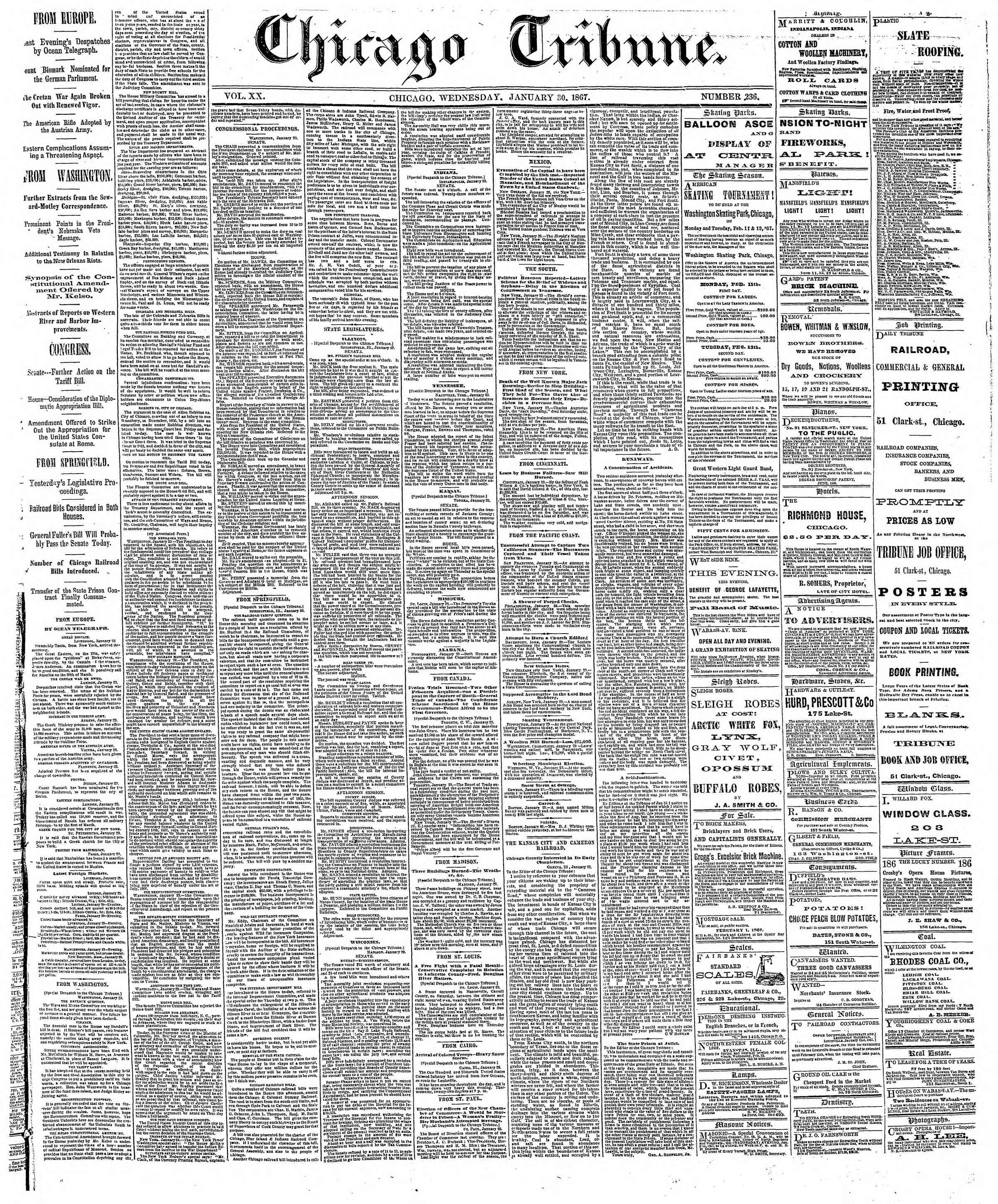 Newspaper of The Chicago Tribune dated January 30, 1867 Page 1