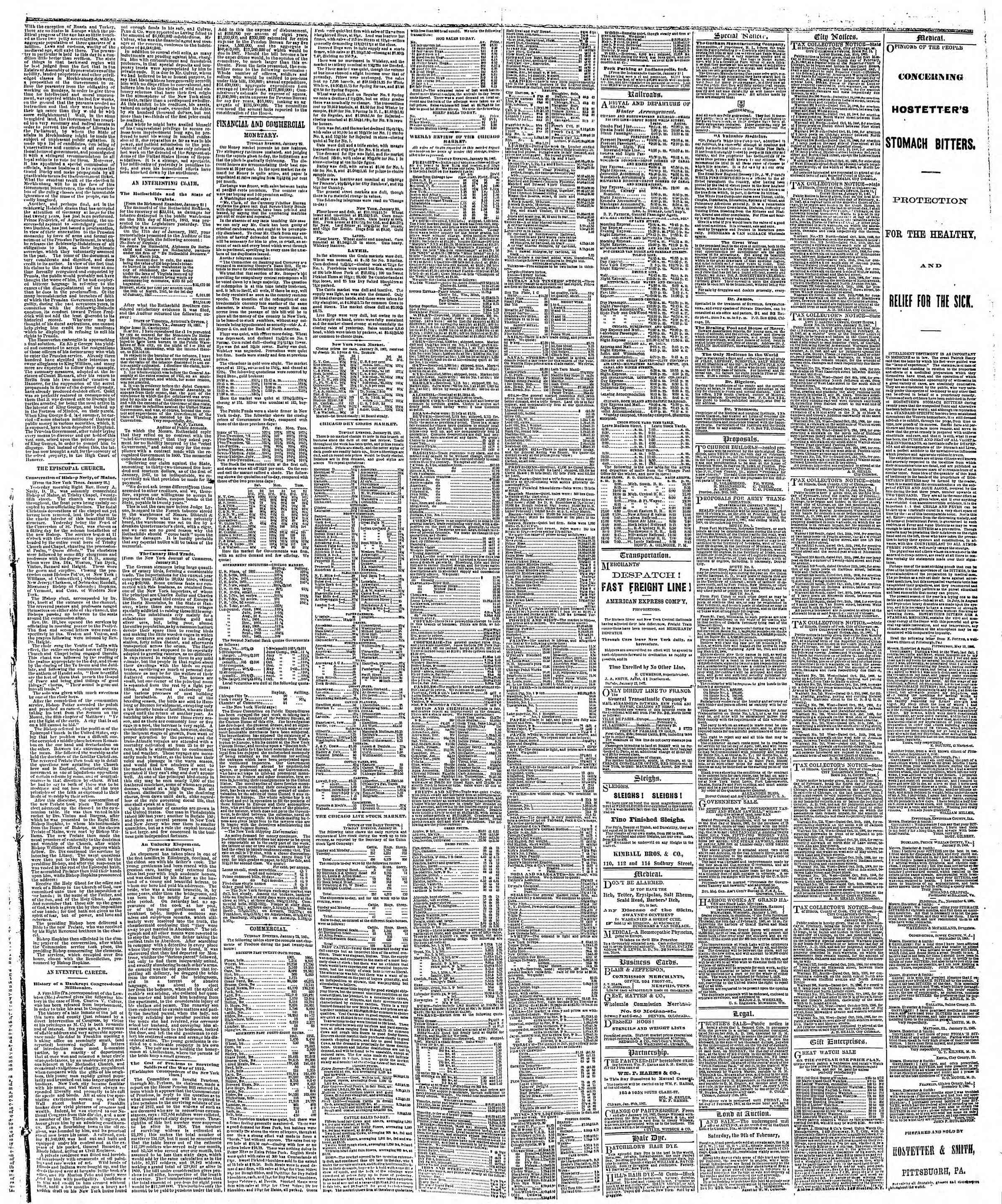 Newspaper of The Chicago Tribune dated January 30, 1867 Page 3