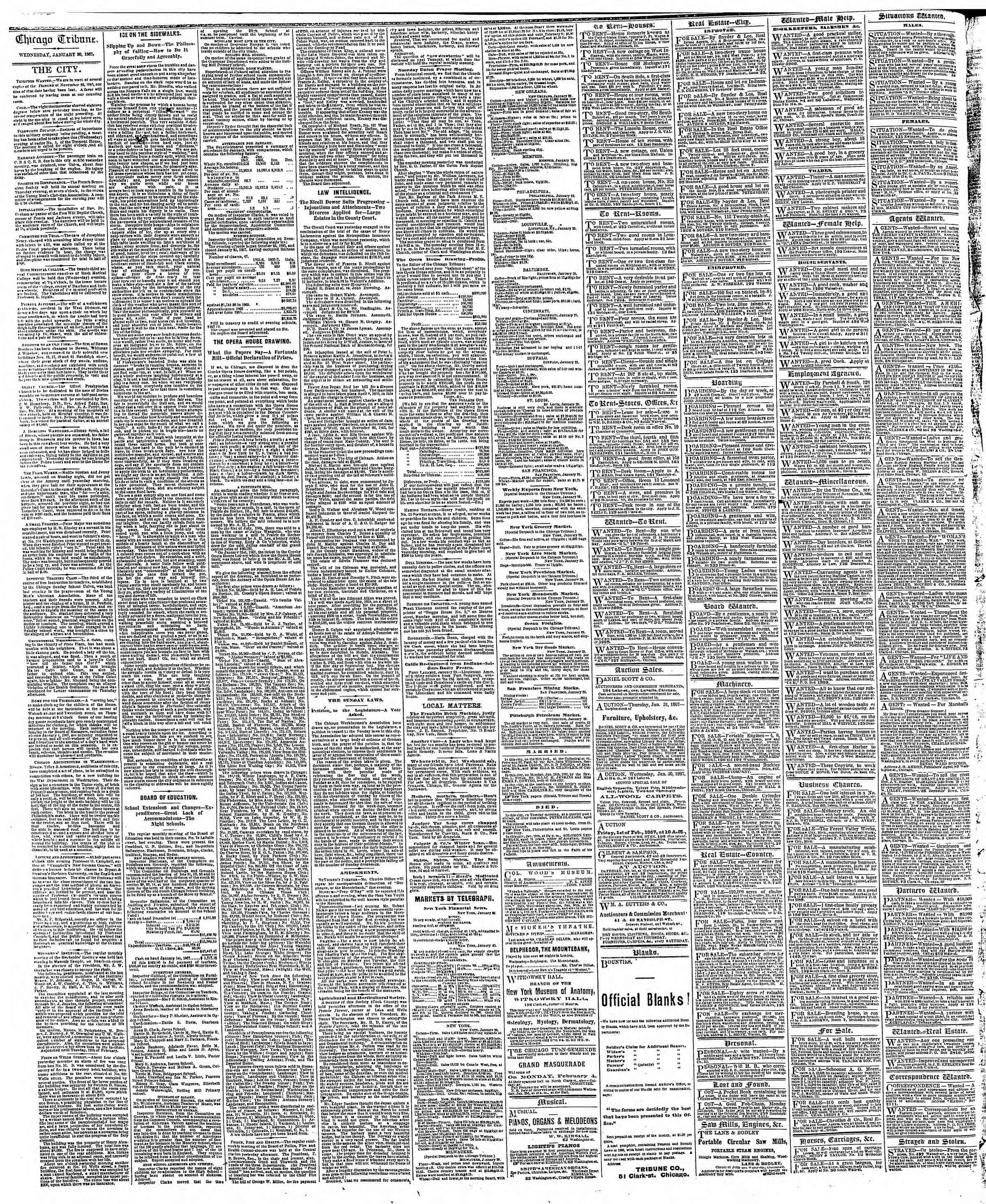 Newspaper of The Chicago Tribune dated January 30, 1867 Page 4