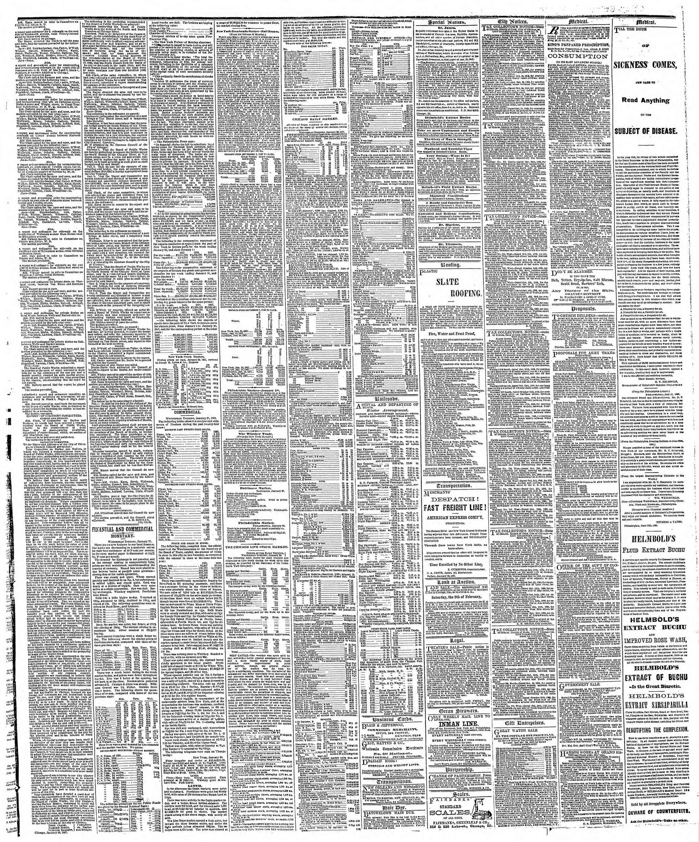 Newspaper of The Chicago Tribune dated 31 Ocak 1867 Page 3