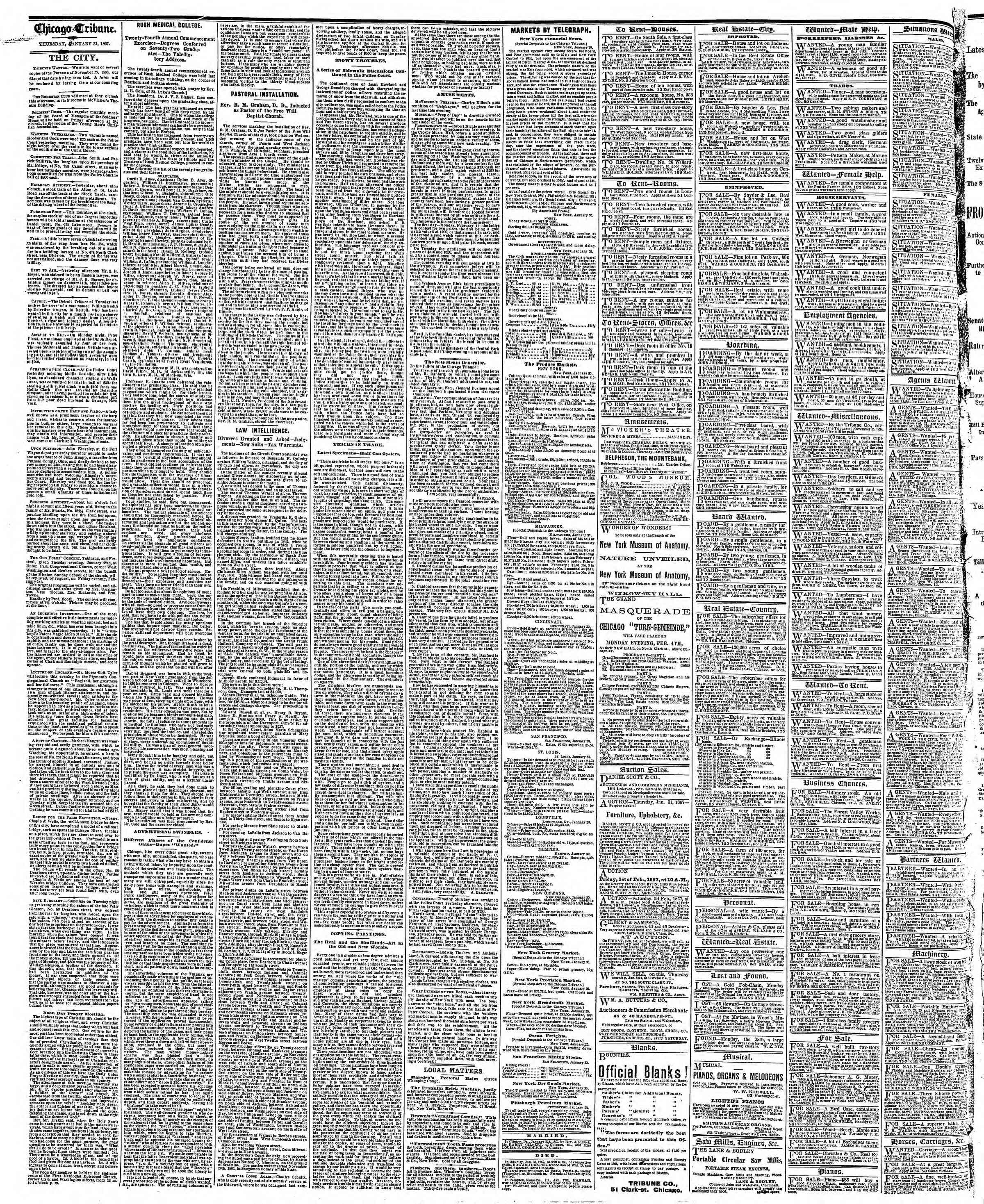 Newspaper of The Chicago Tribune dated 31 Ocak 1867 Page 4