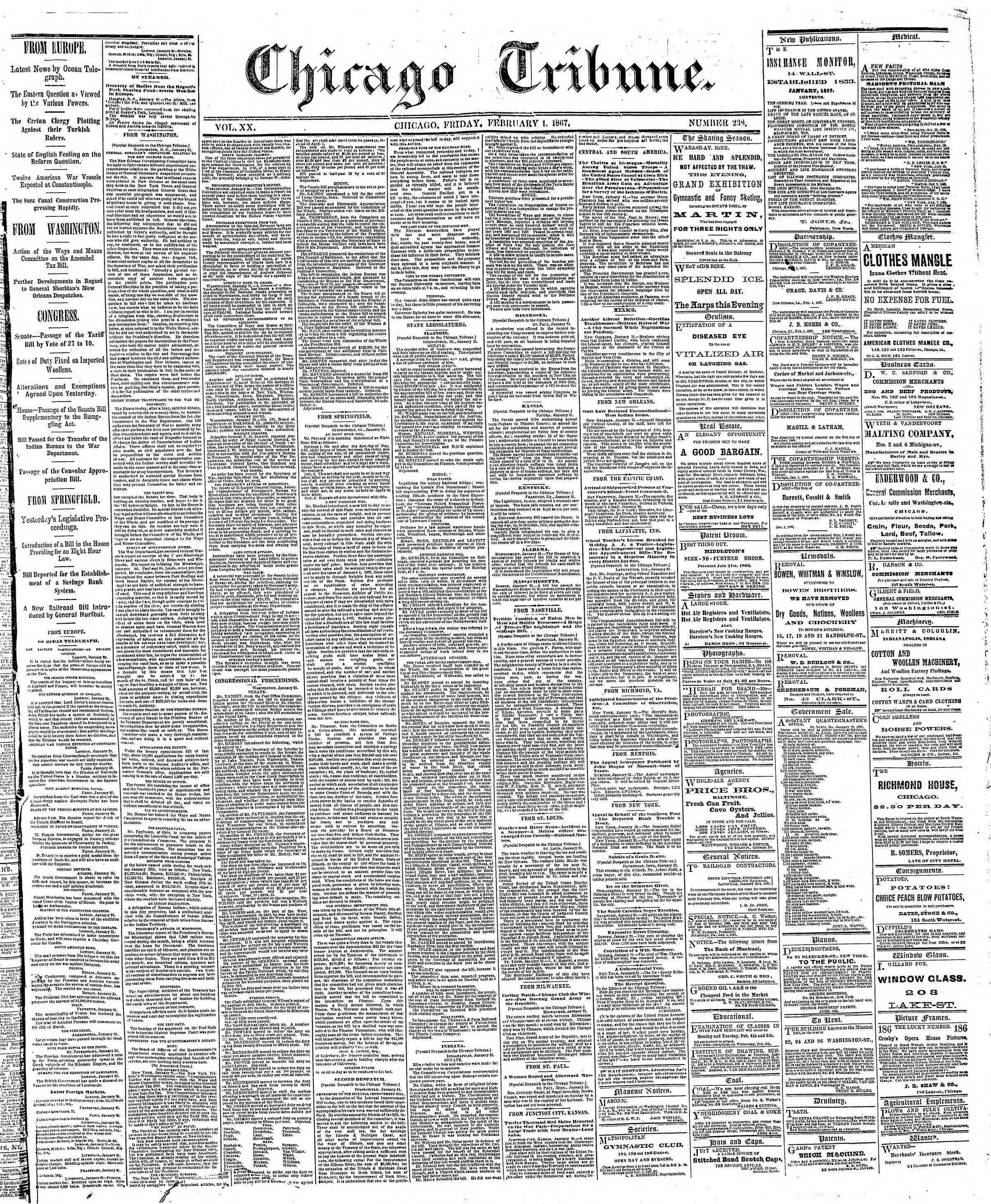 Newspaper of The Chicago Tribune dated February 1, 1867 Page 1