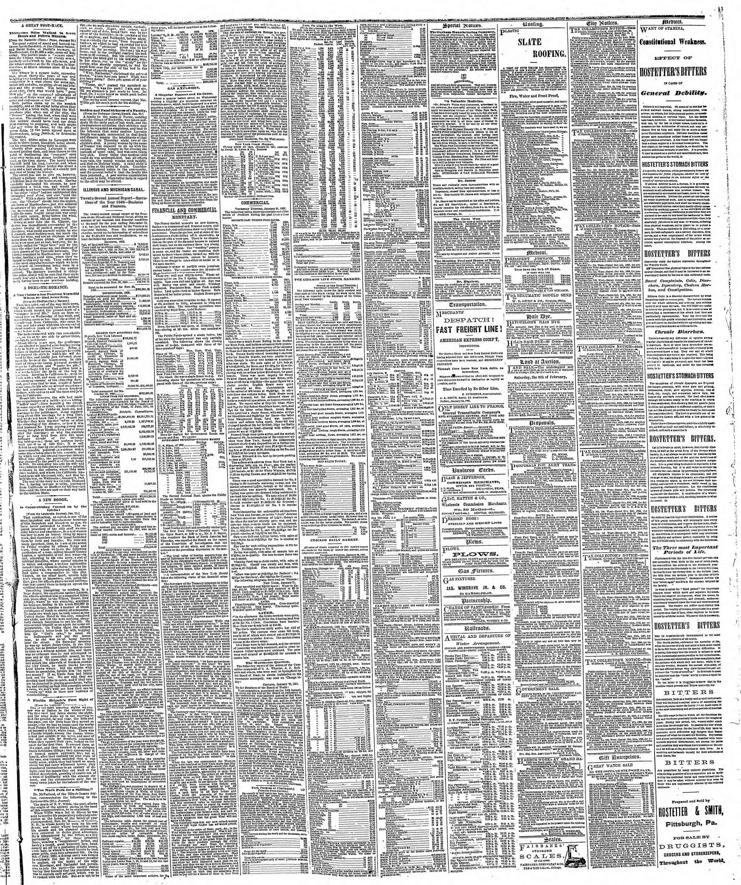 Newspaper of The Chicago Tribune dated February 1, 1867 Page 3