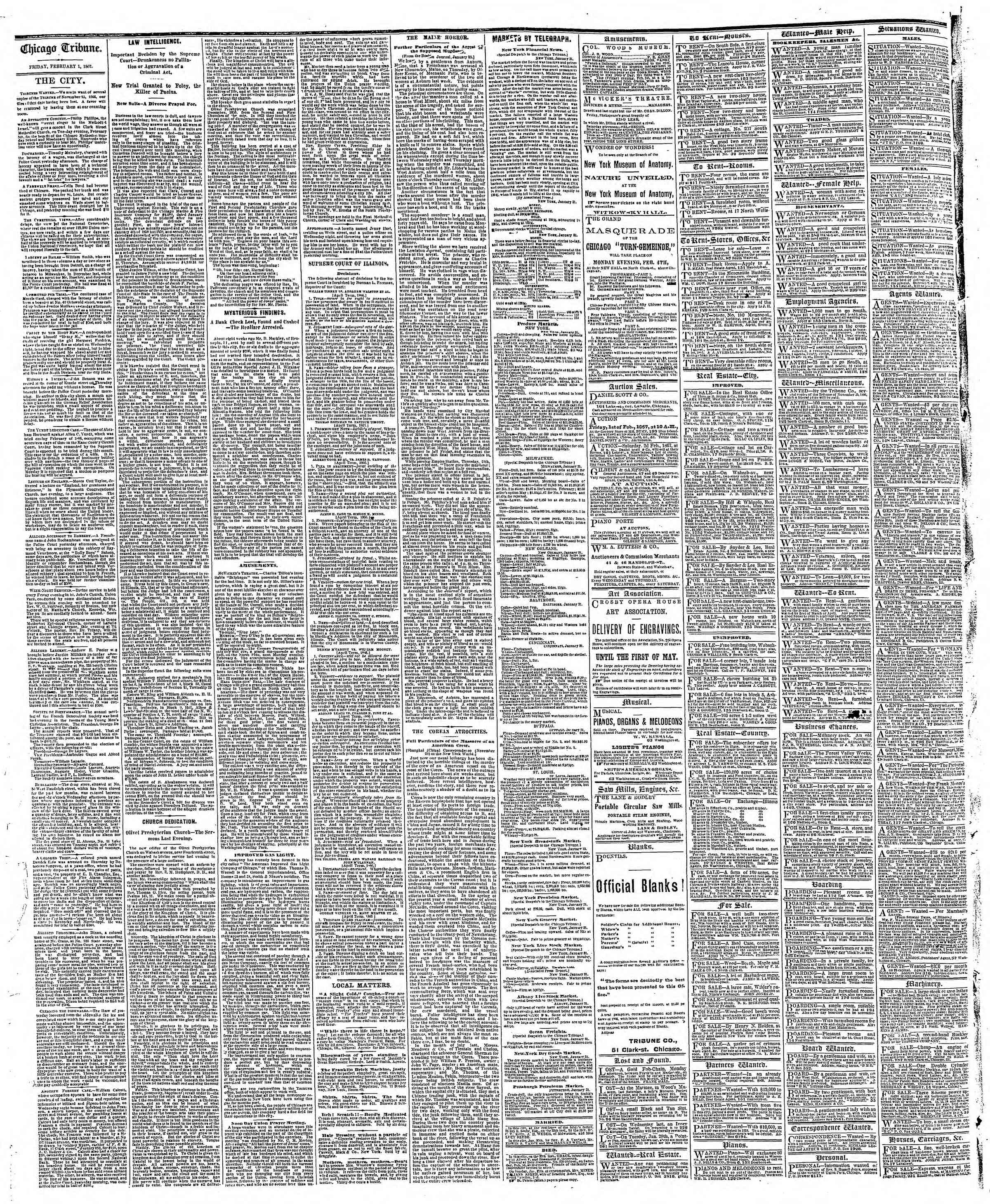 Newspaper of The Chicago Tribune dated February 1, 1867 Page 4