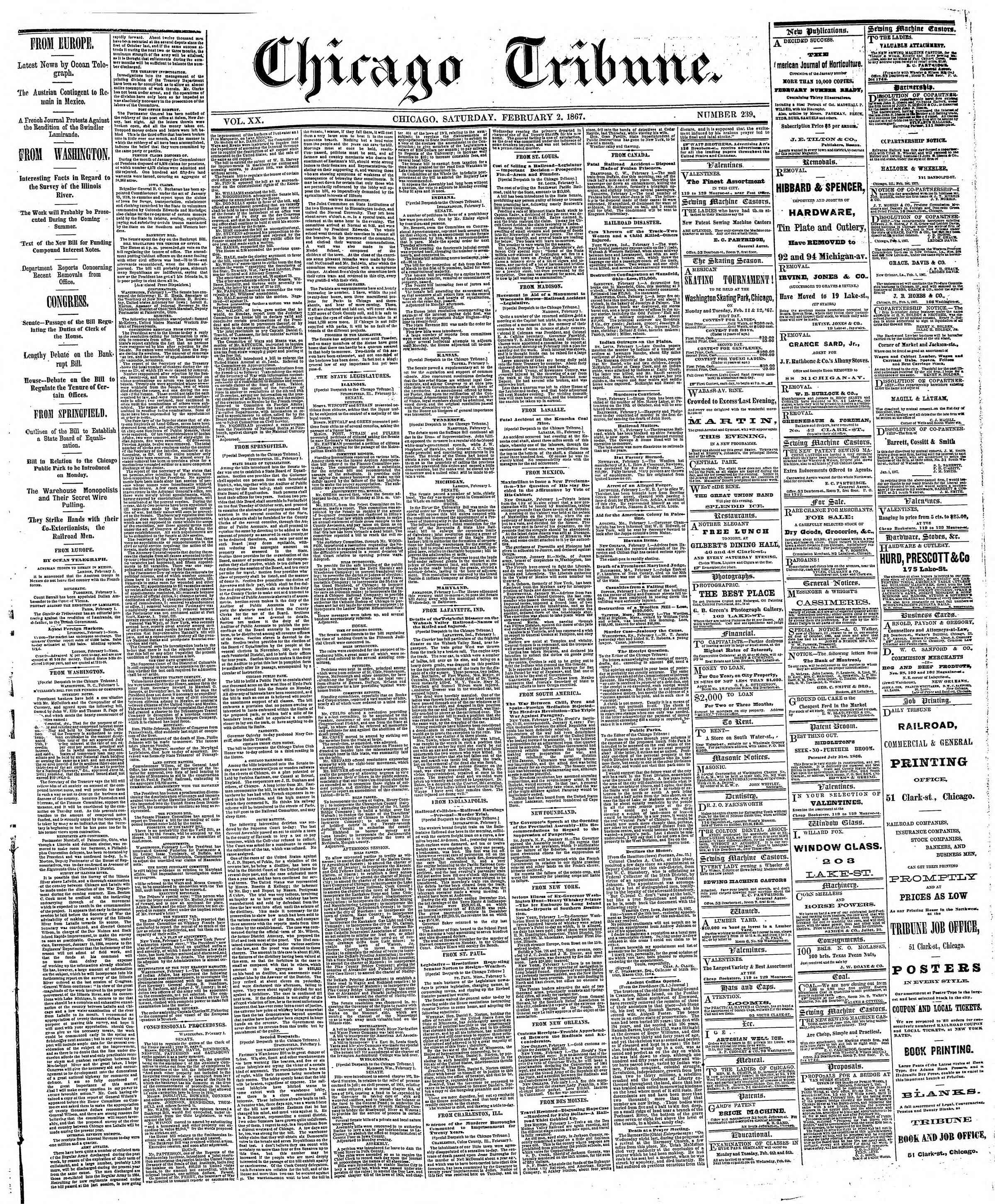 Newspaper of The Chicago Tribune dated February 2, 1867 Page 1