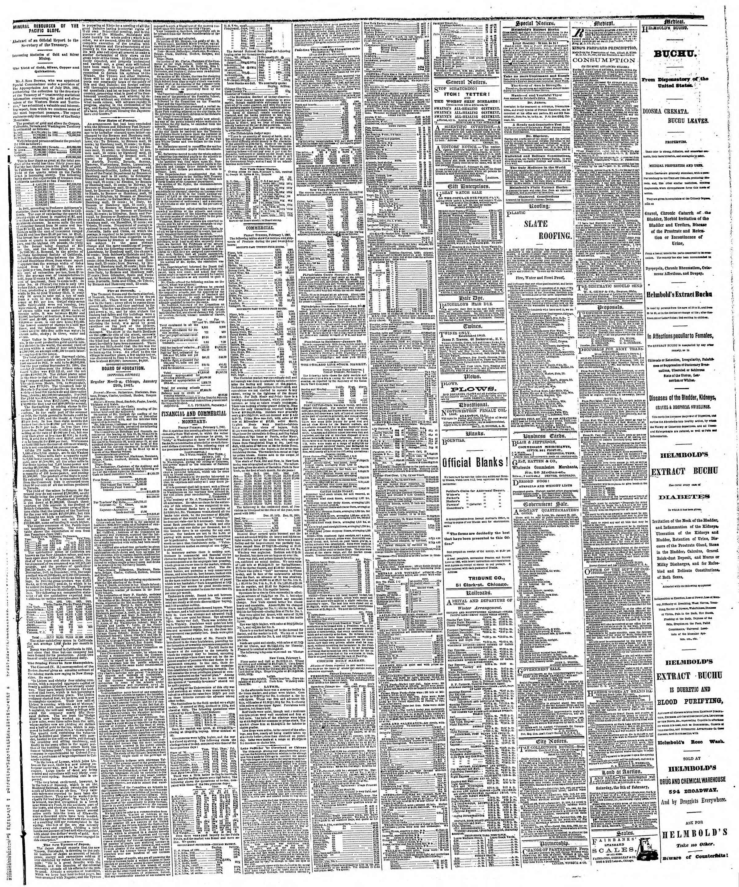 Newspaper of The Chicago Tribune dated February 2, 1867 Page 3