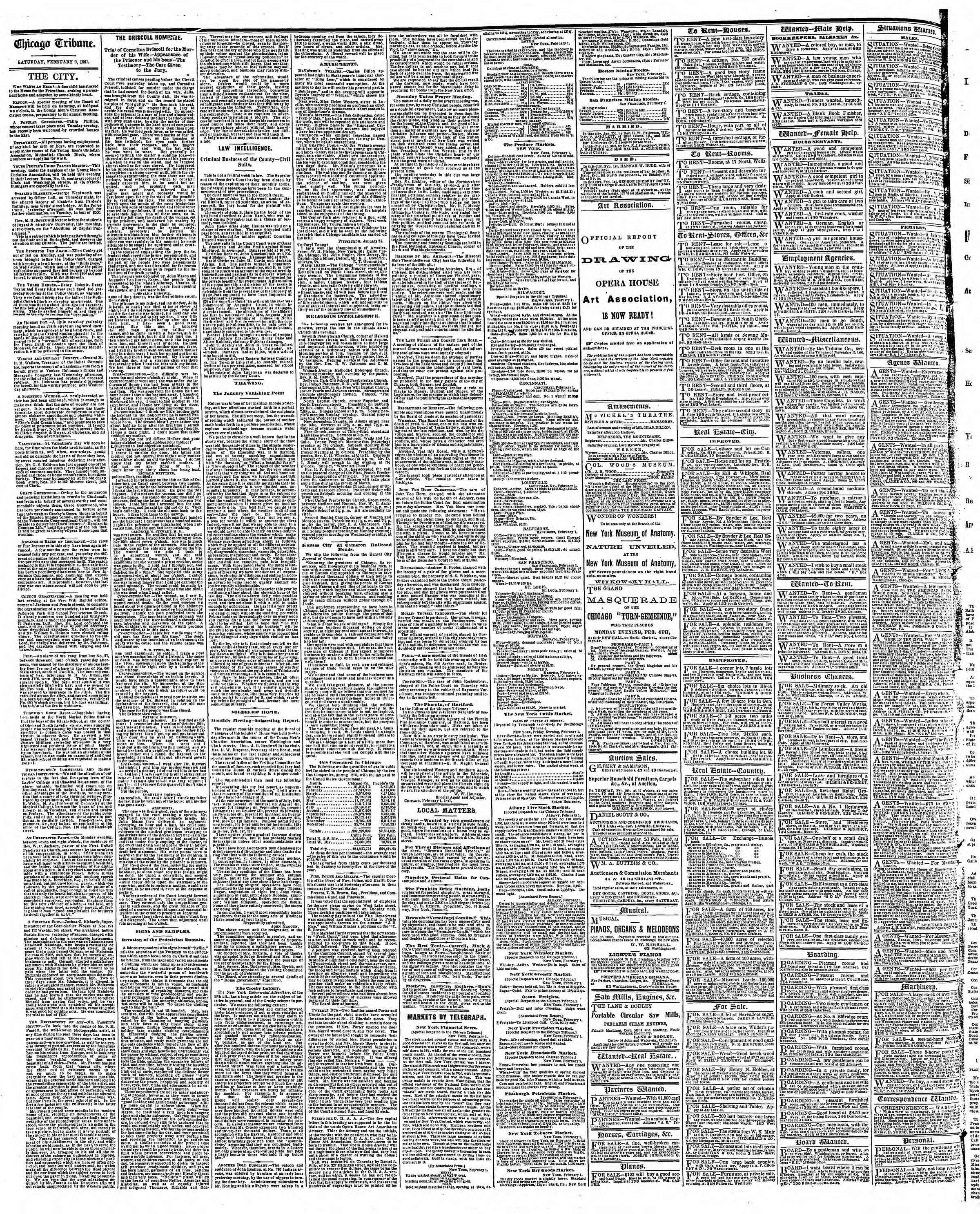 Newspaper of The Chicago Tribune dated February 2, 1867 Page 4
