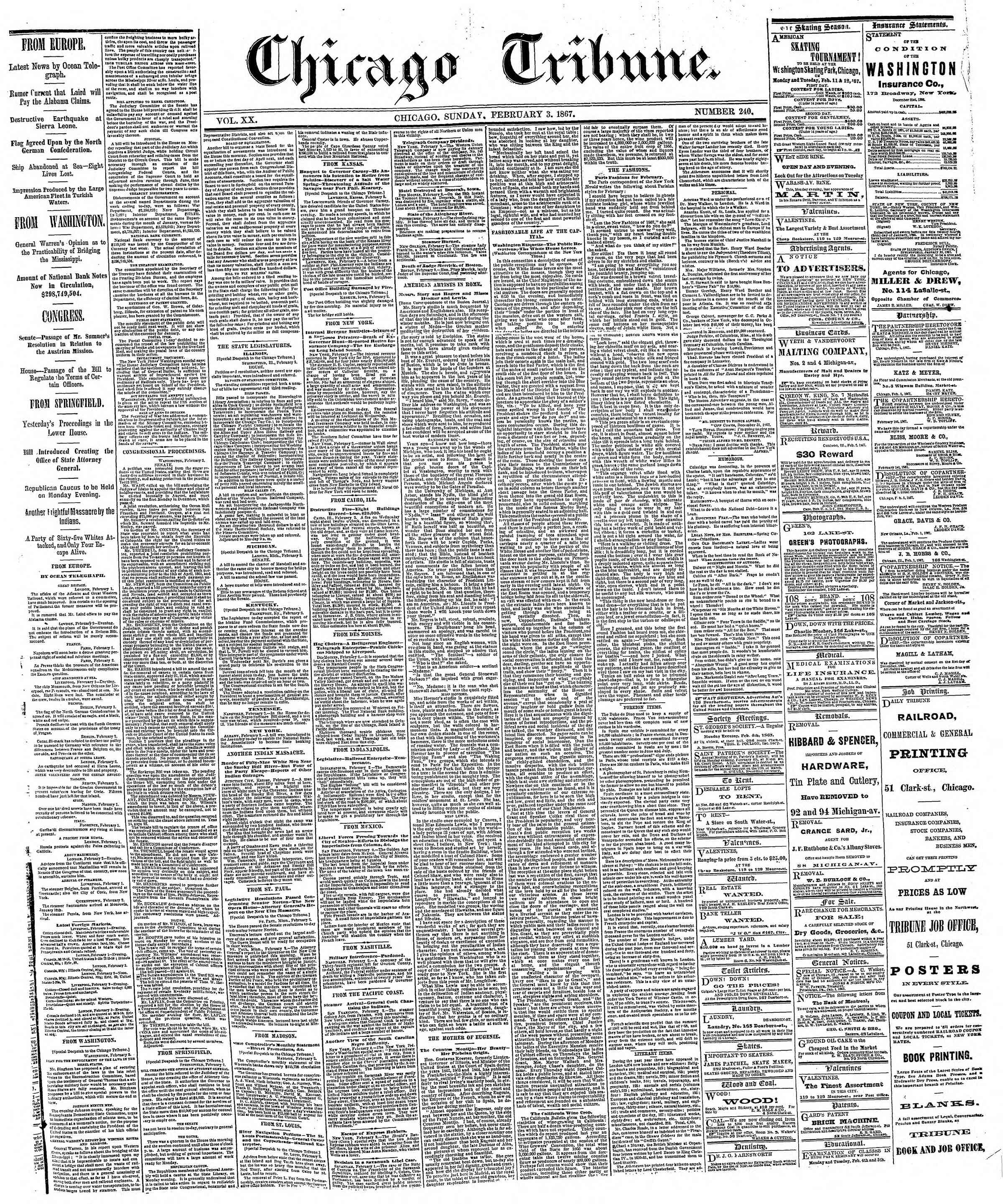 Newspaper of The Chicago Tribune dated February 3, 1867 Page 1