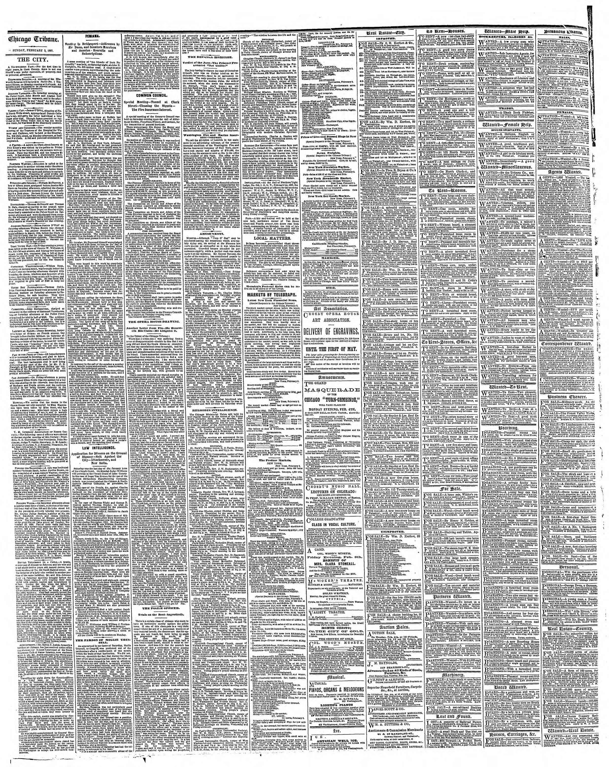 Newspaper of The Chicago Tribune dated 3 Şubat 1867 Page 4