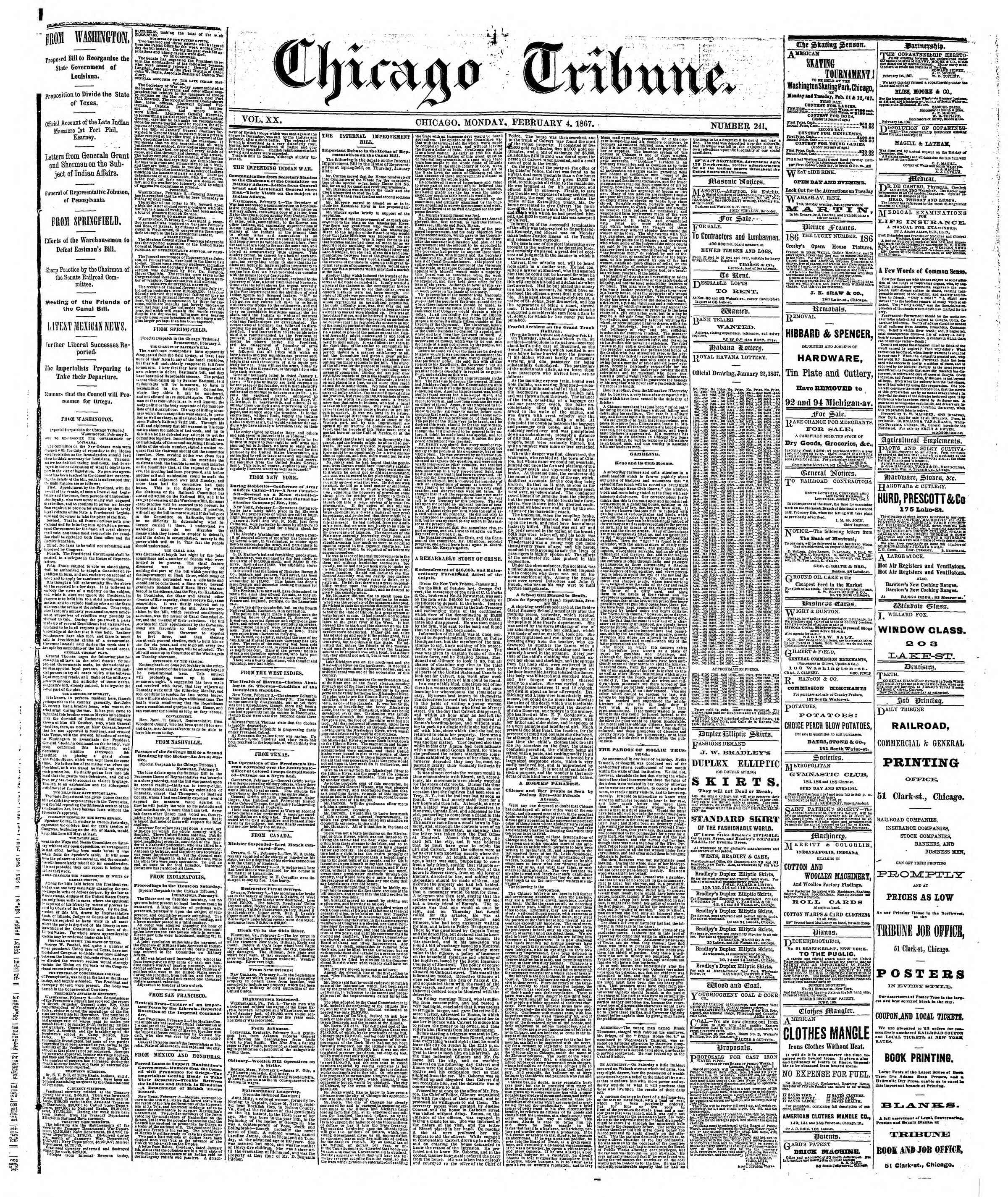 Newspaper of The Chicago Tribune dated February 4, 1867 Page 1