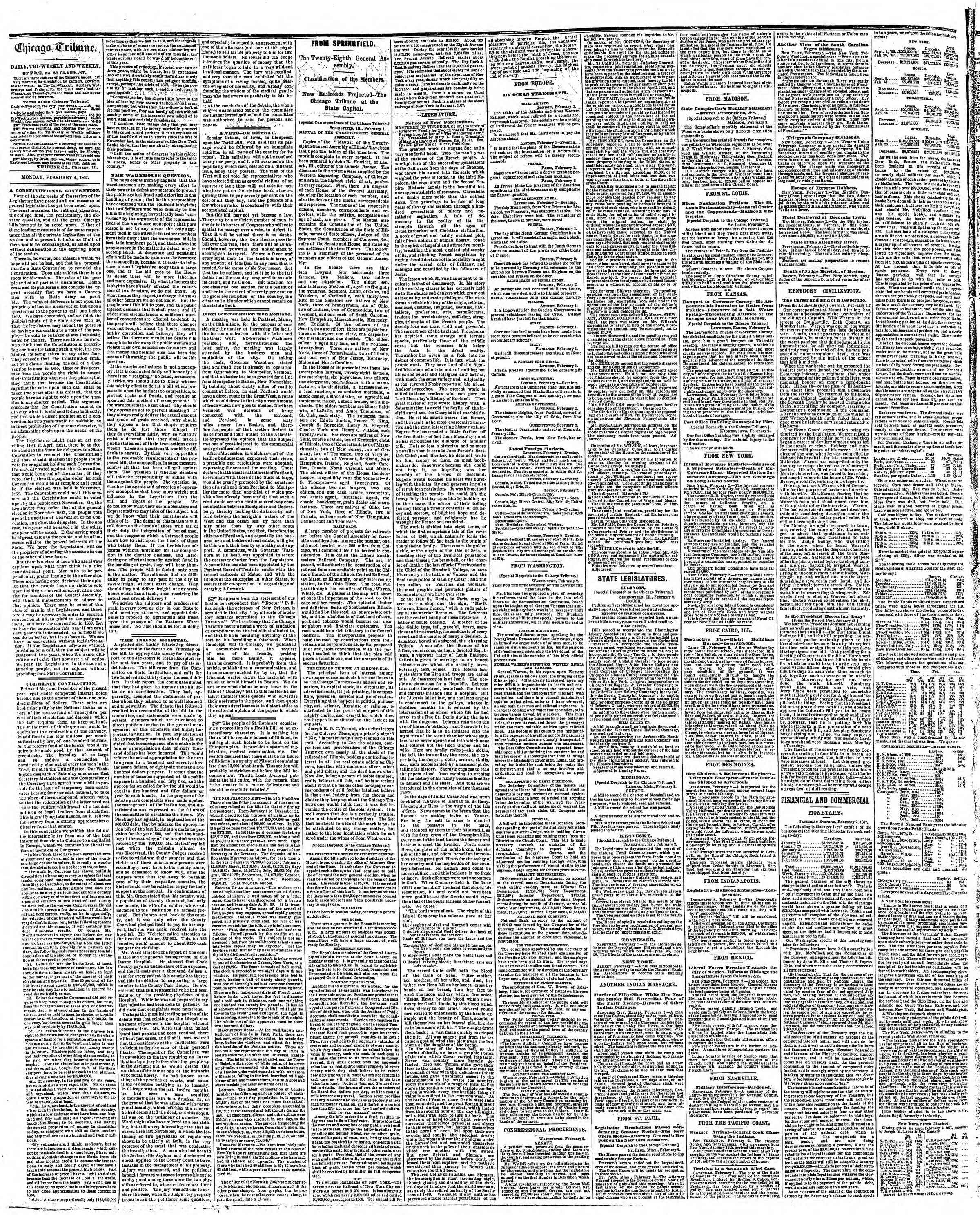 Newspaper of The Chicago Tribune dated February 4, 1867 Page 2