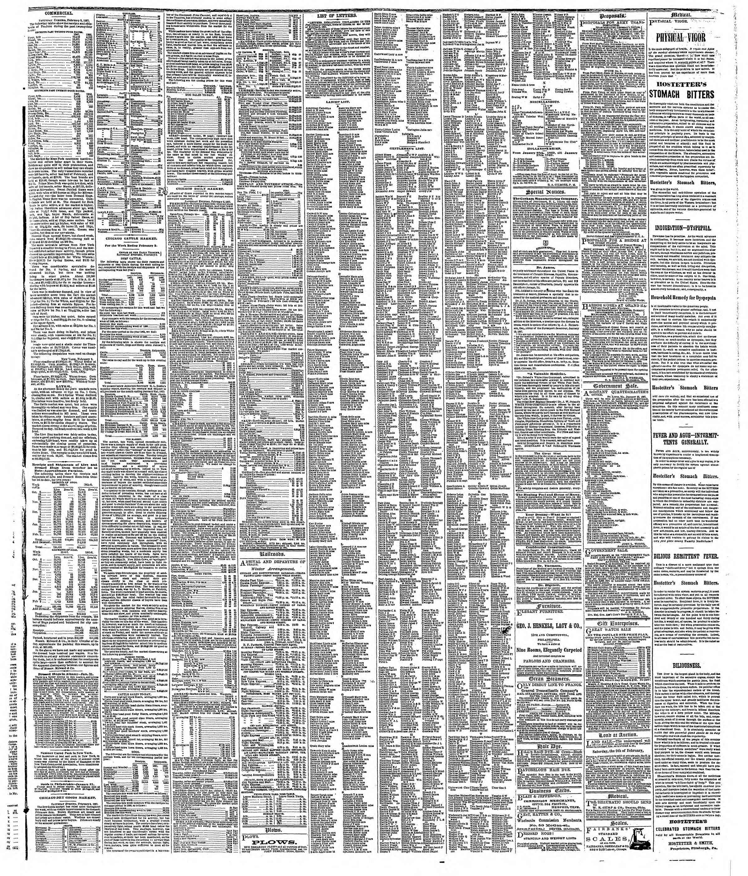 Newspaper of The Chicago Tribune dated February 4, 1867 Page 3