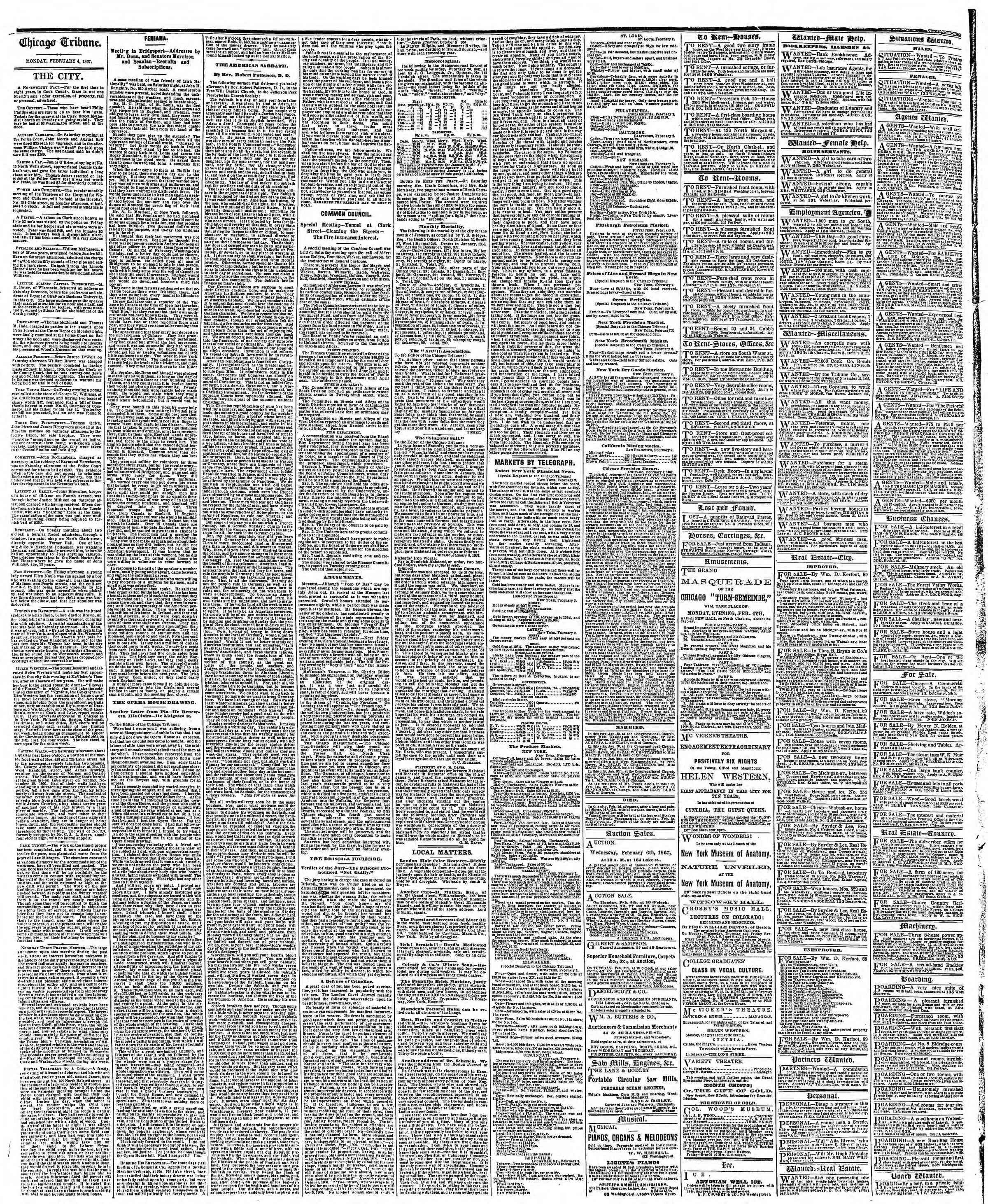 Newspaper of The Chicago Tribune dated February 4, 1867 Page 4