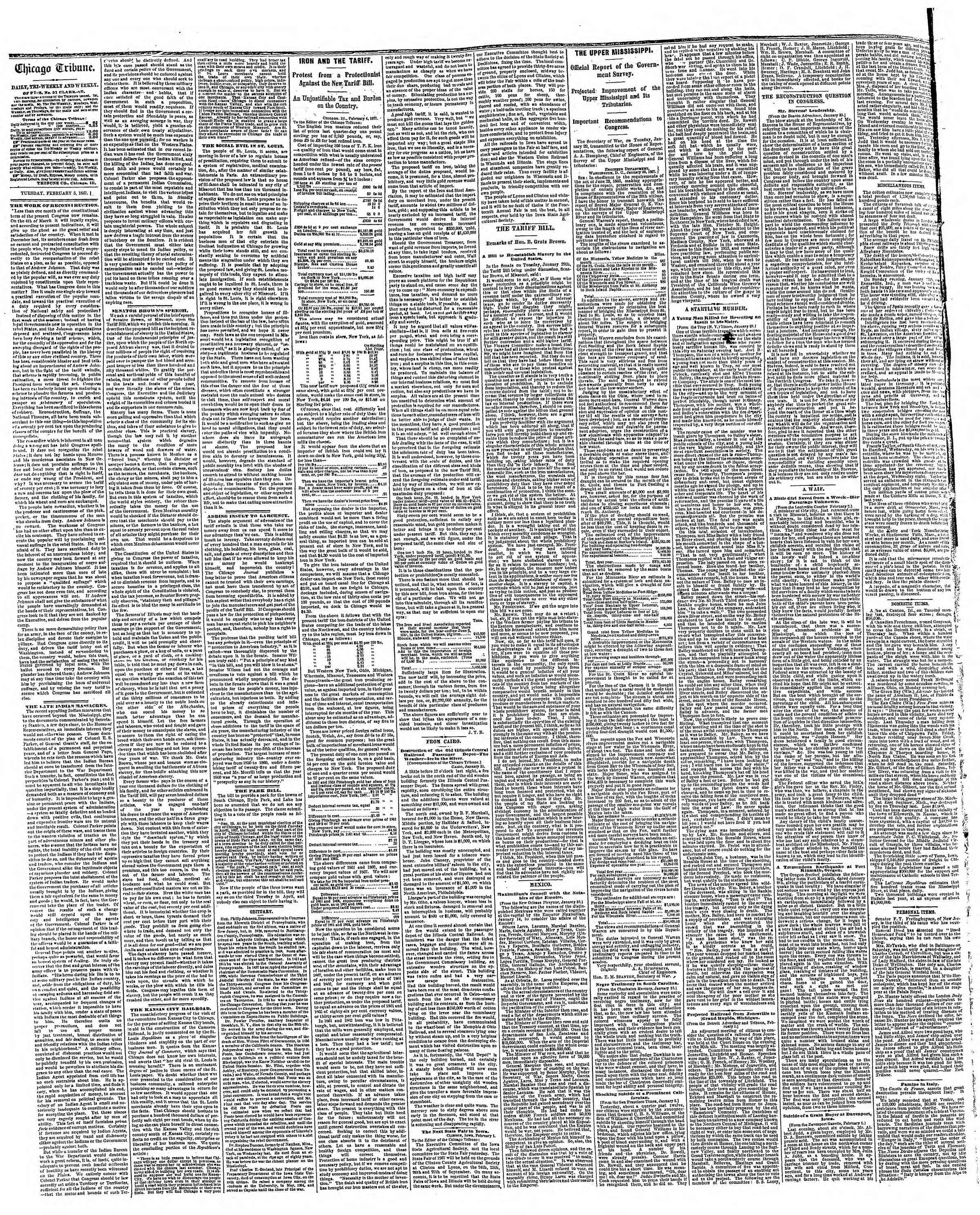 Newspaper of The Chicago Tribune dated February 5, 1867 Page 2