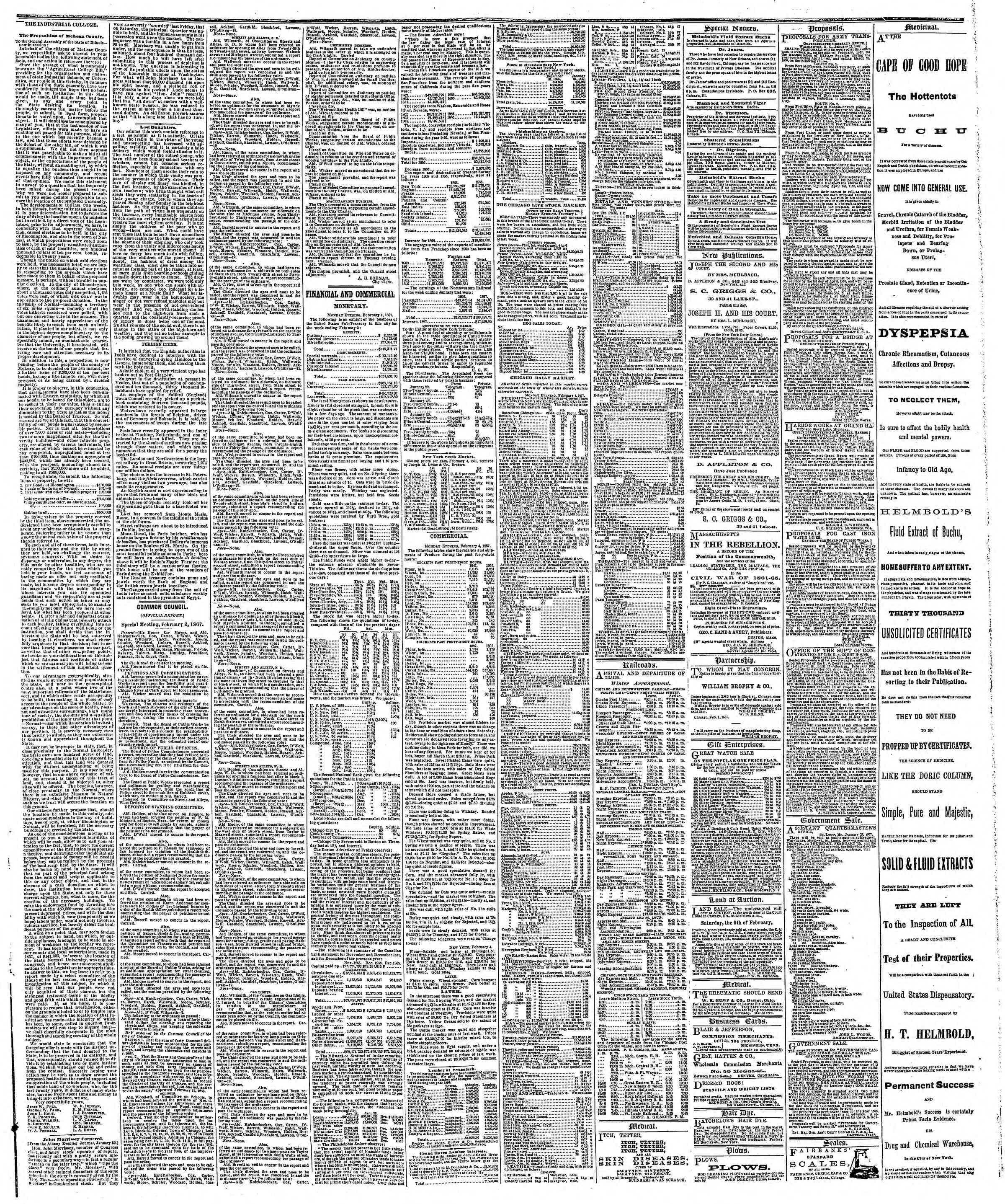 Newspaper of The Chicago Tribune dated February 5, 1867 Page 3